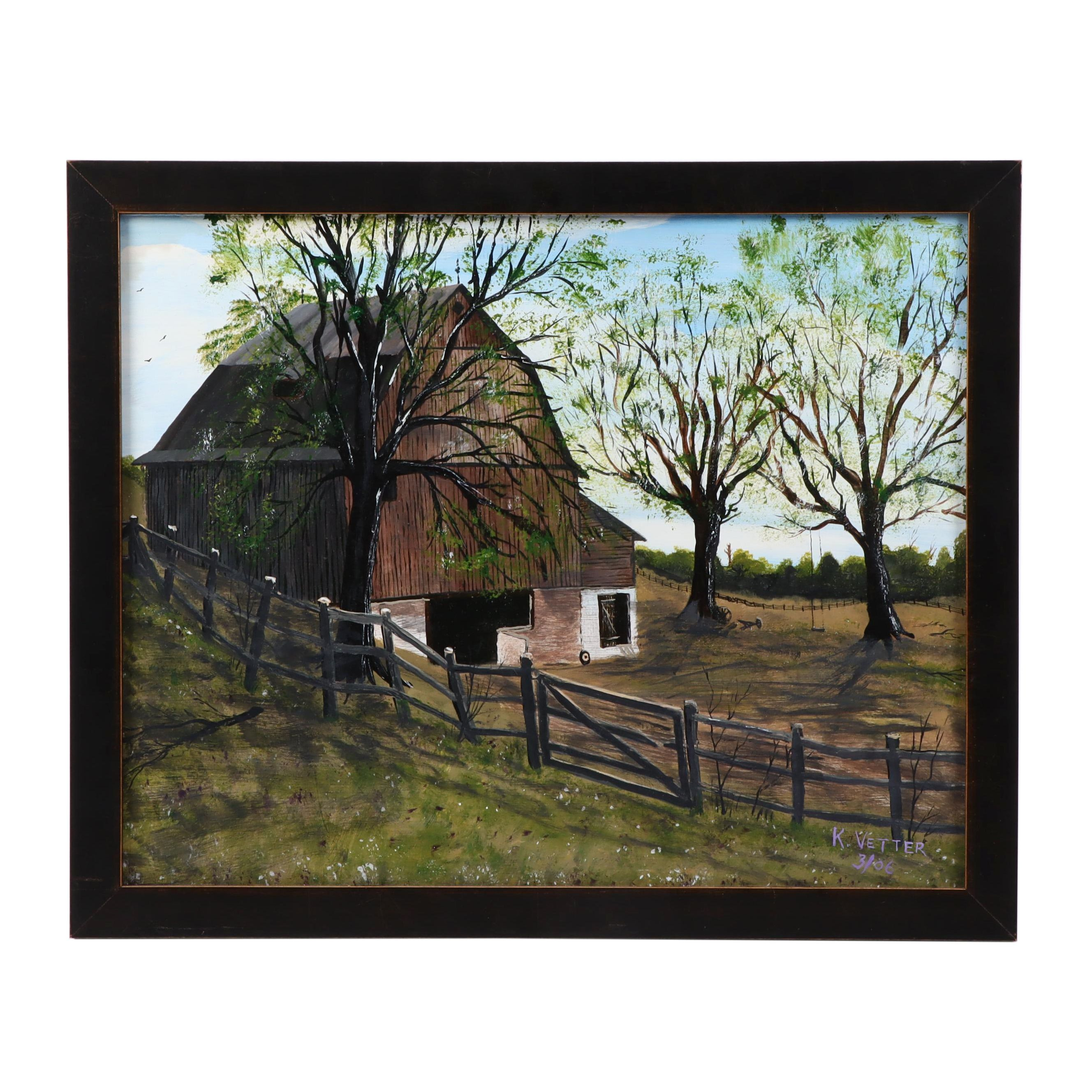 Acrylic Painting of Barn in Landscape
