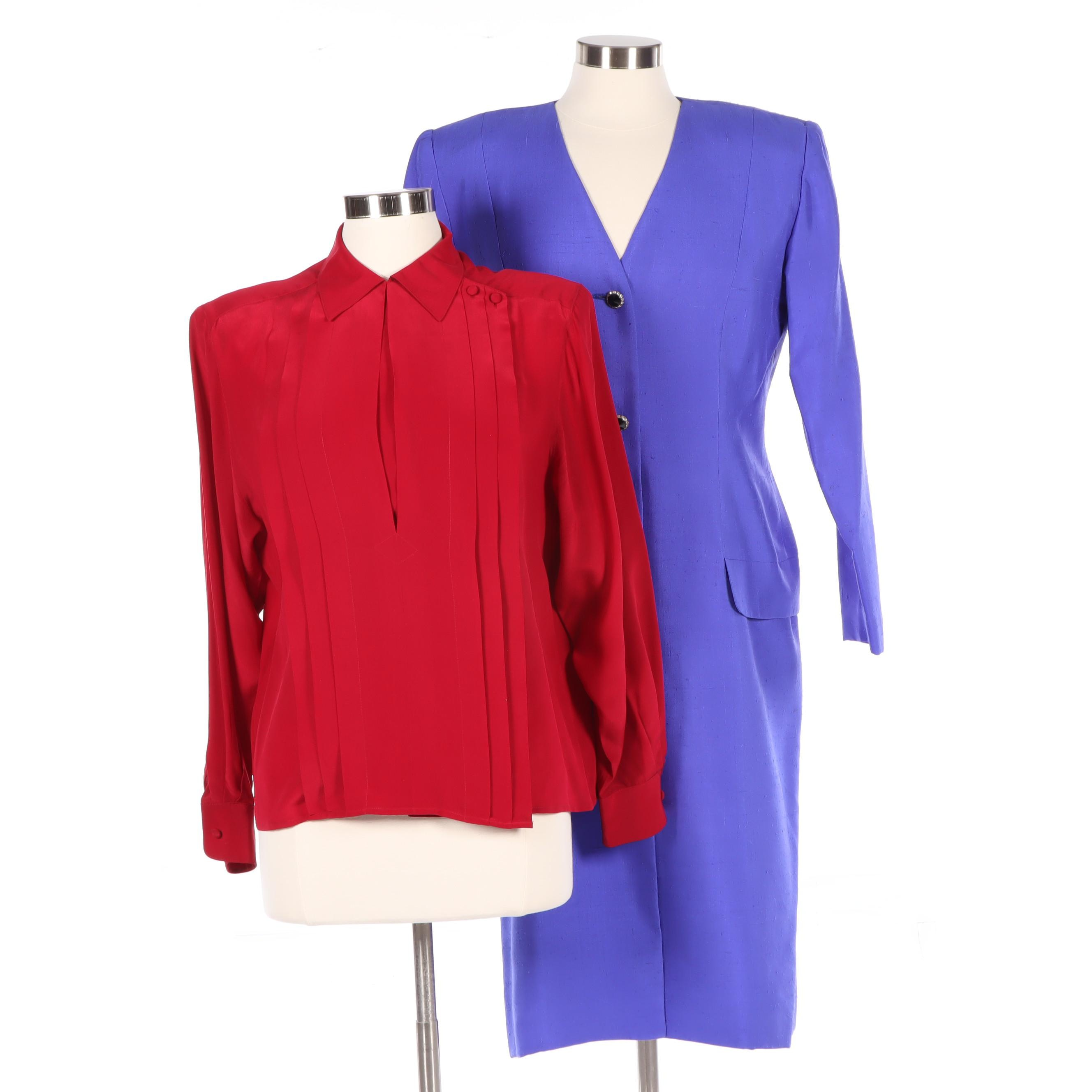 Christian Dior Red Silk Blouse and Periwinkle Silk Linen Dress, Vintage