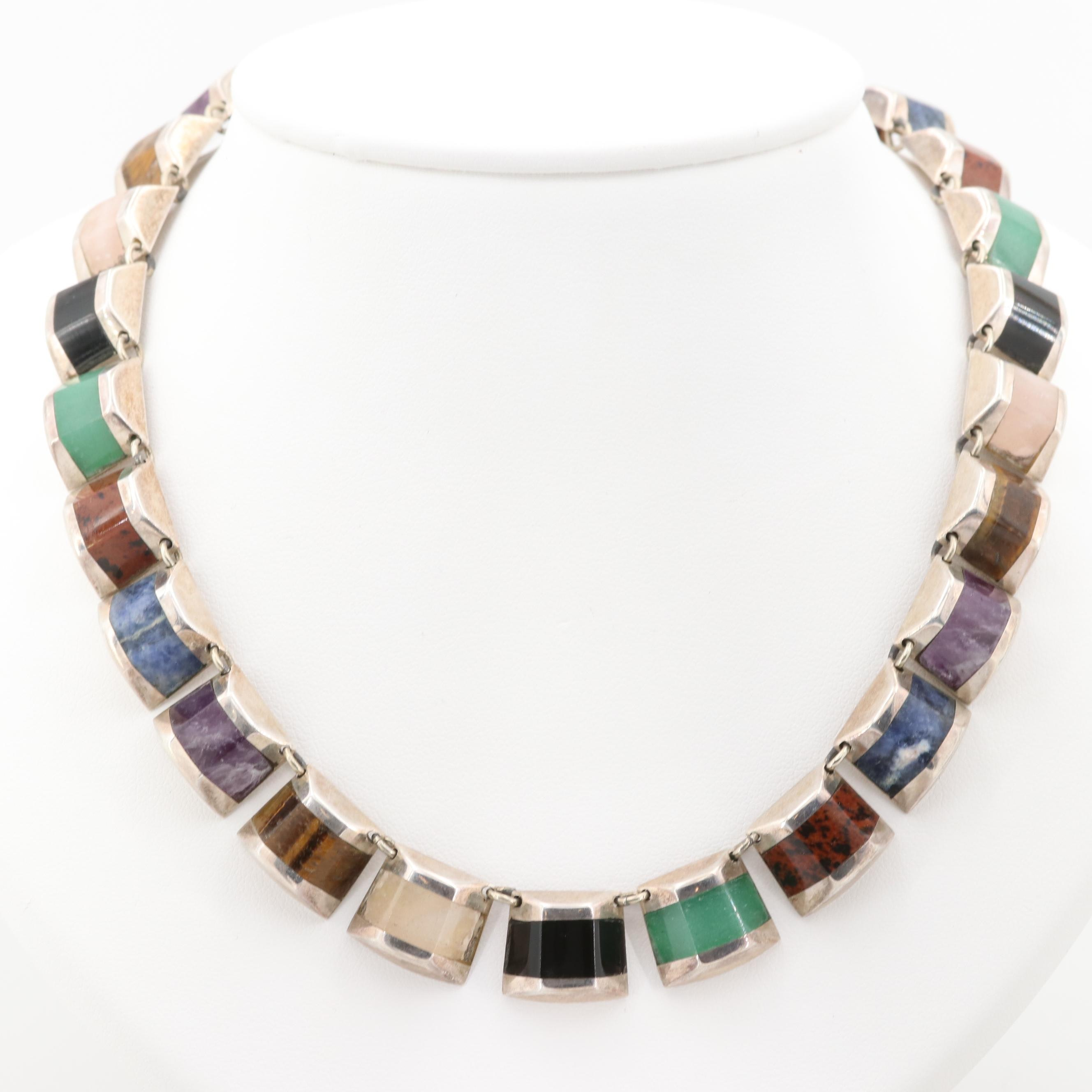 Taxco Mexican Sterling Silver Amethyst, Sodalite and Jasper Choker Necklace