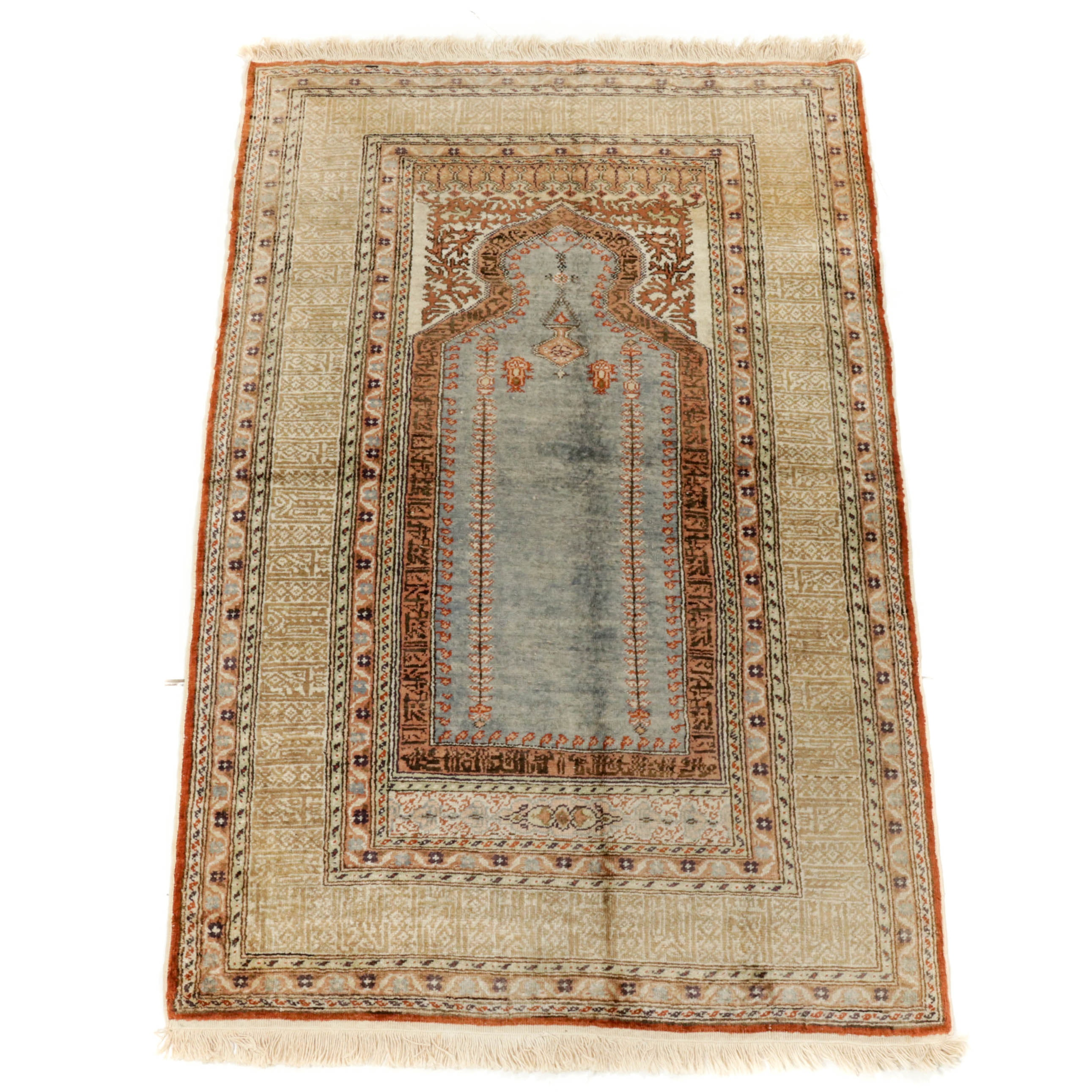 3.1' x 4.8' Hand-Knotted Turkish Kayseri Silk Prayer Rug