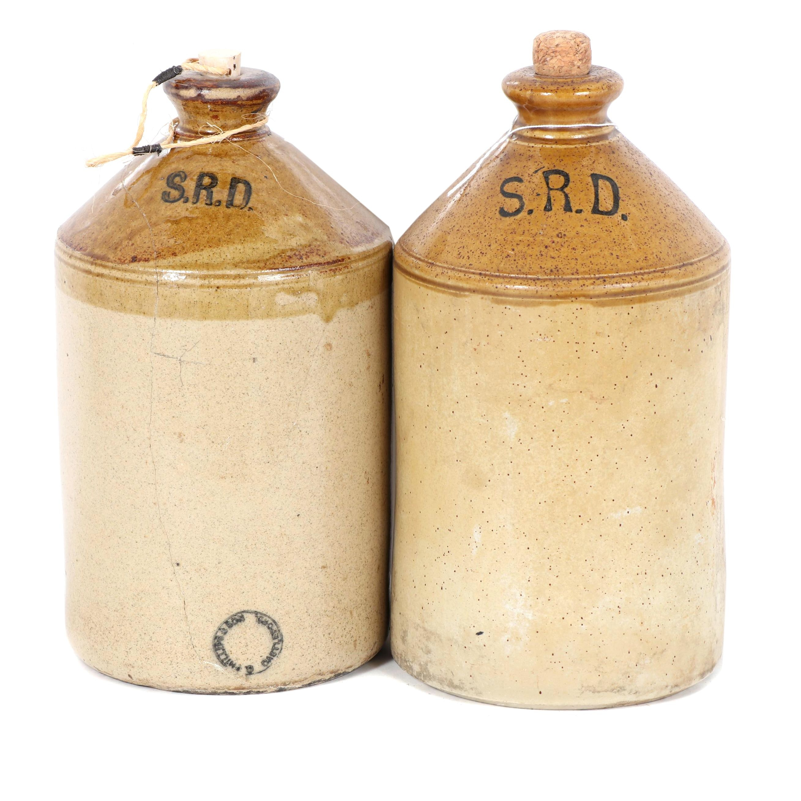 """British Military """"S.R.D."""" Stoneware Rum Bottles by G. Phillips & Sons"""