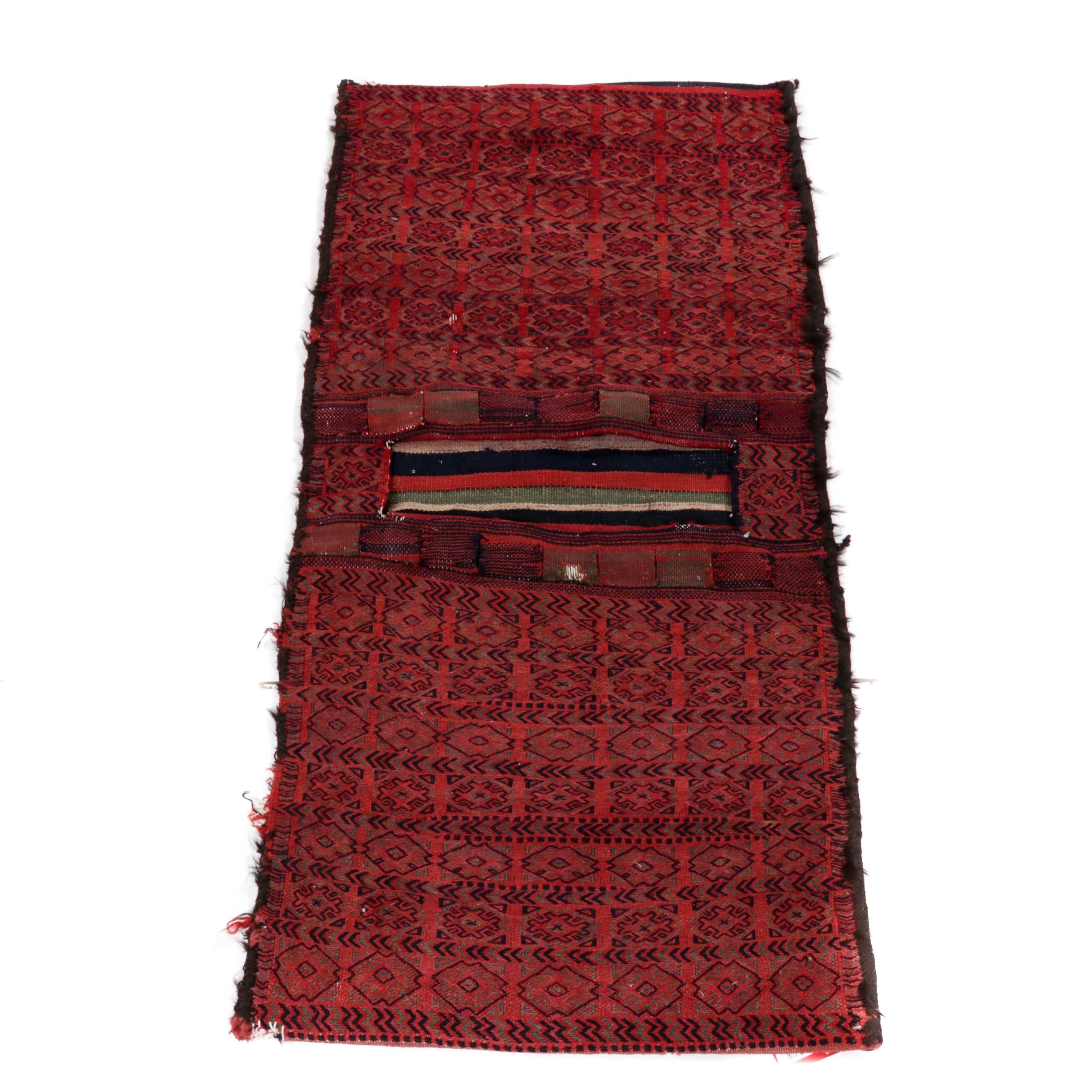 2.2' x 4.8' Hand-Knotted Persian Kurdish Saddle Bag, Circa 1920s