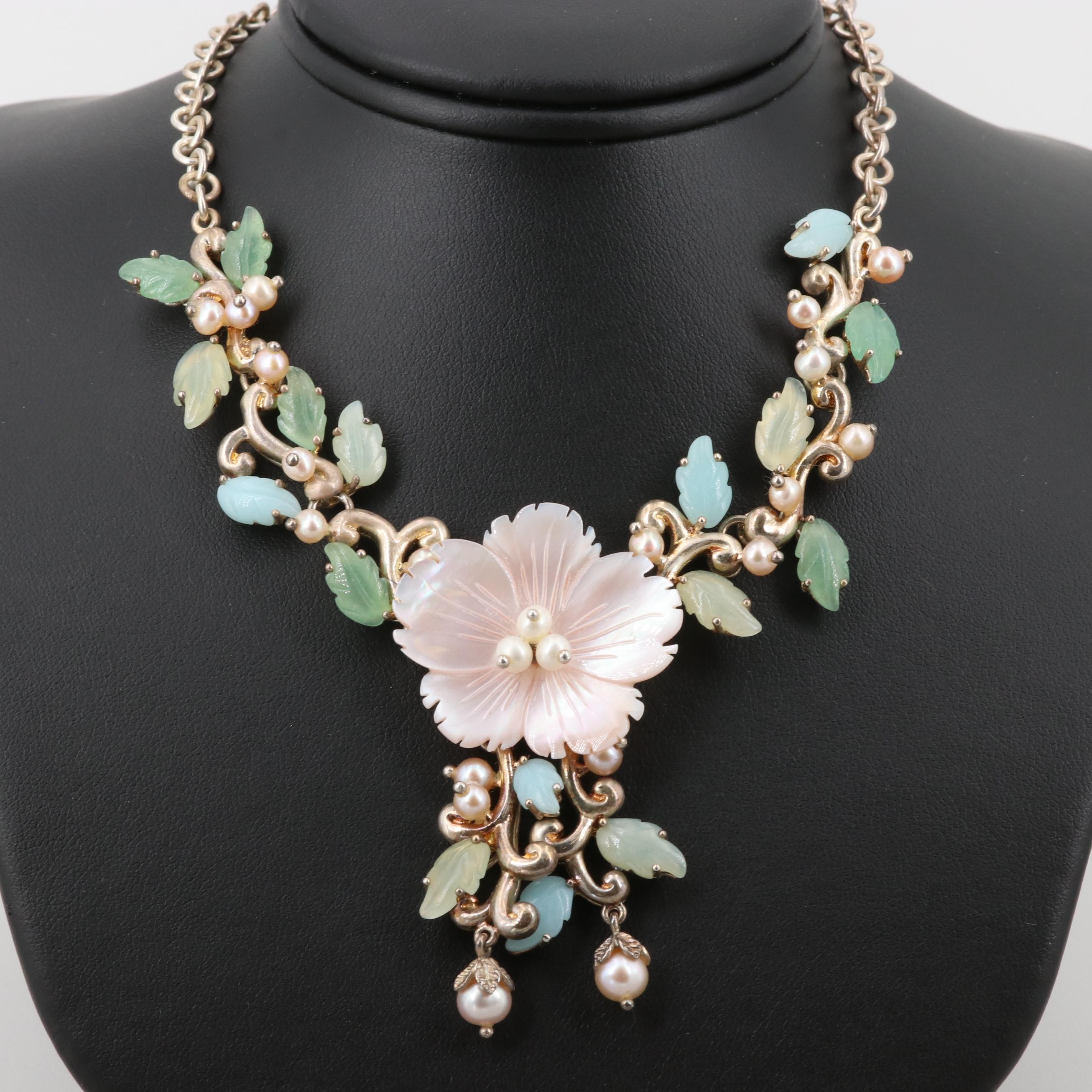 Sterling Silver Cultured Pearl, Mother of Pearl and Bowenite Floral Necklace