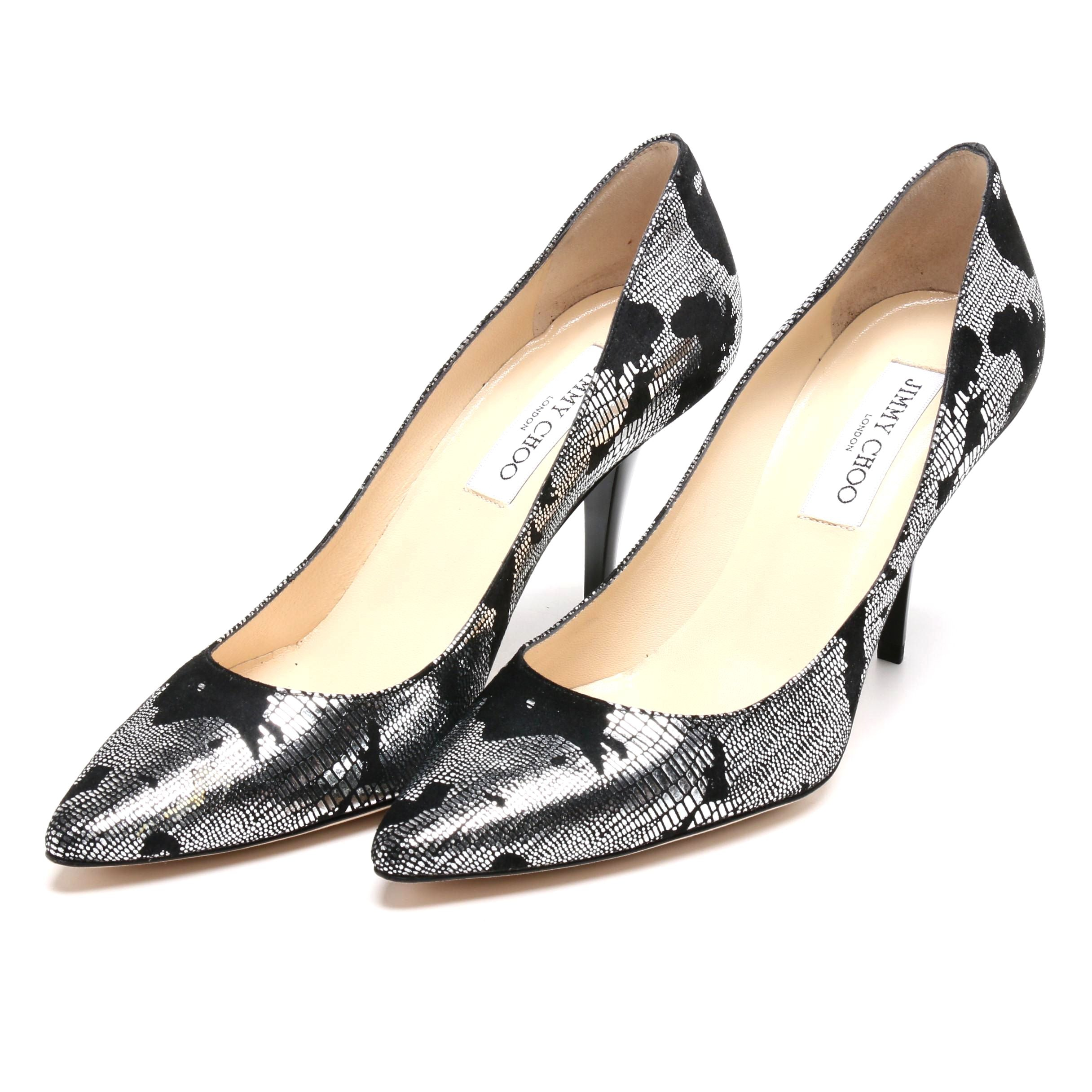 Jimmy Choo London Black Leather Pumps with Metallic Silver Lizard Print