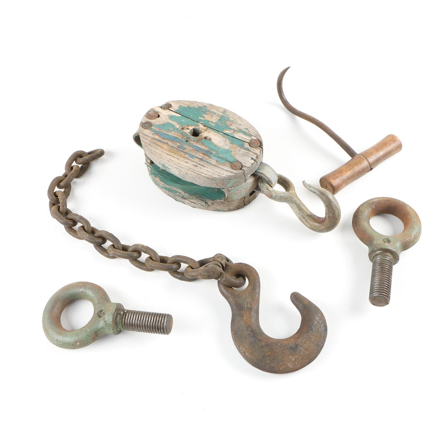 Wood Pulley, Hardware and Meat Hook