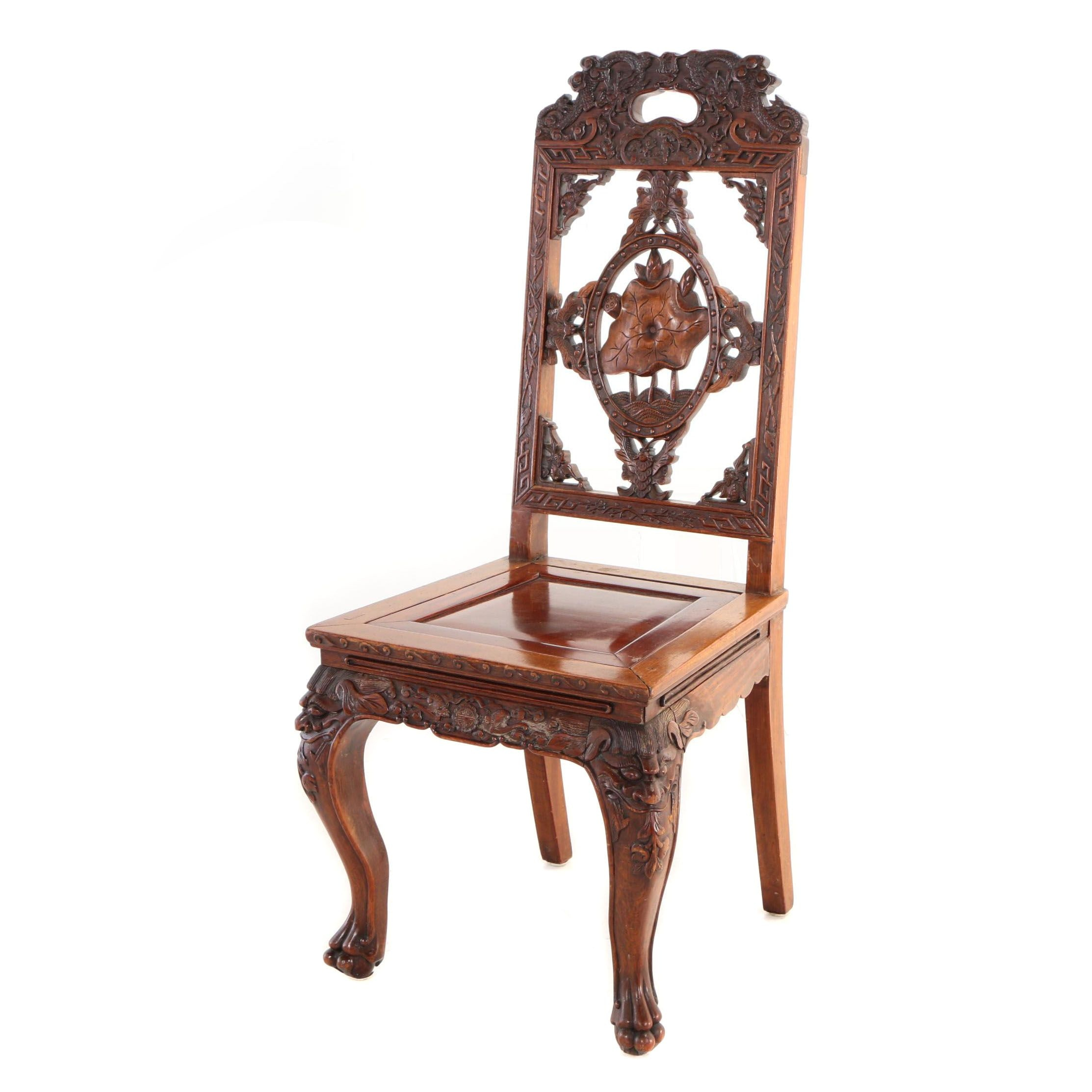 Chinese Carved Hardwood Side Chair, Late 19th/Early 20th Century