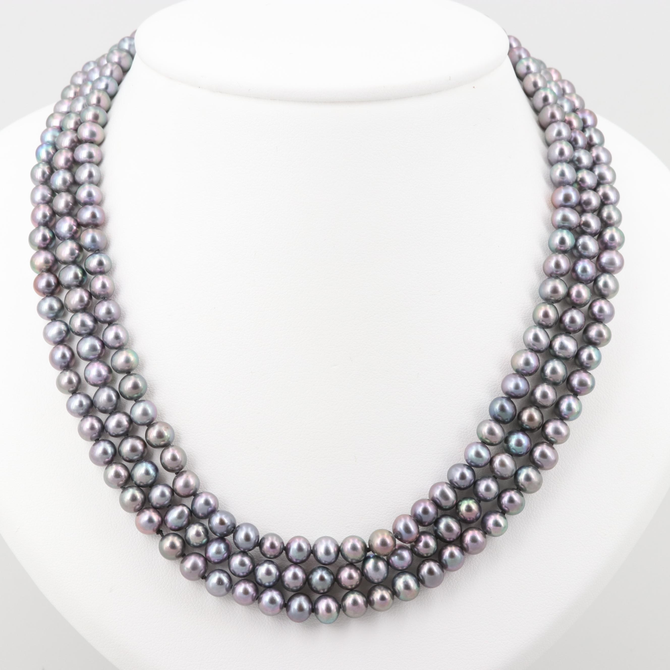 Sterling Silver Cultured Pearl Triple-Stranded Necklace