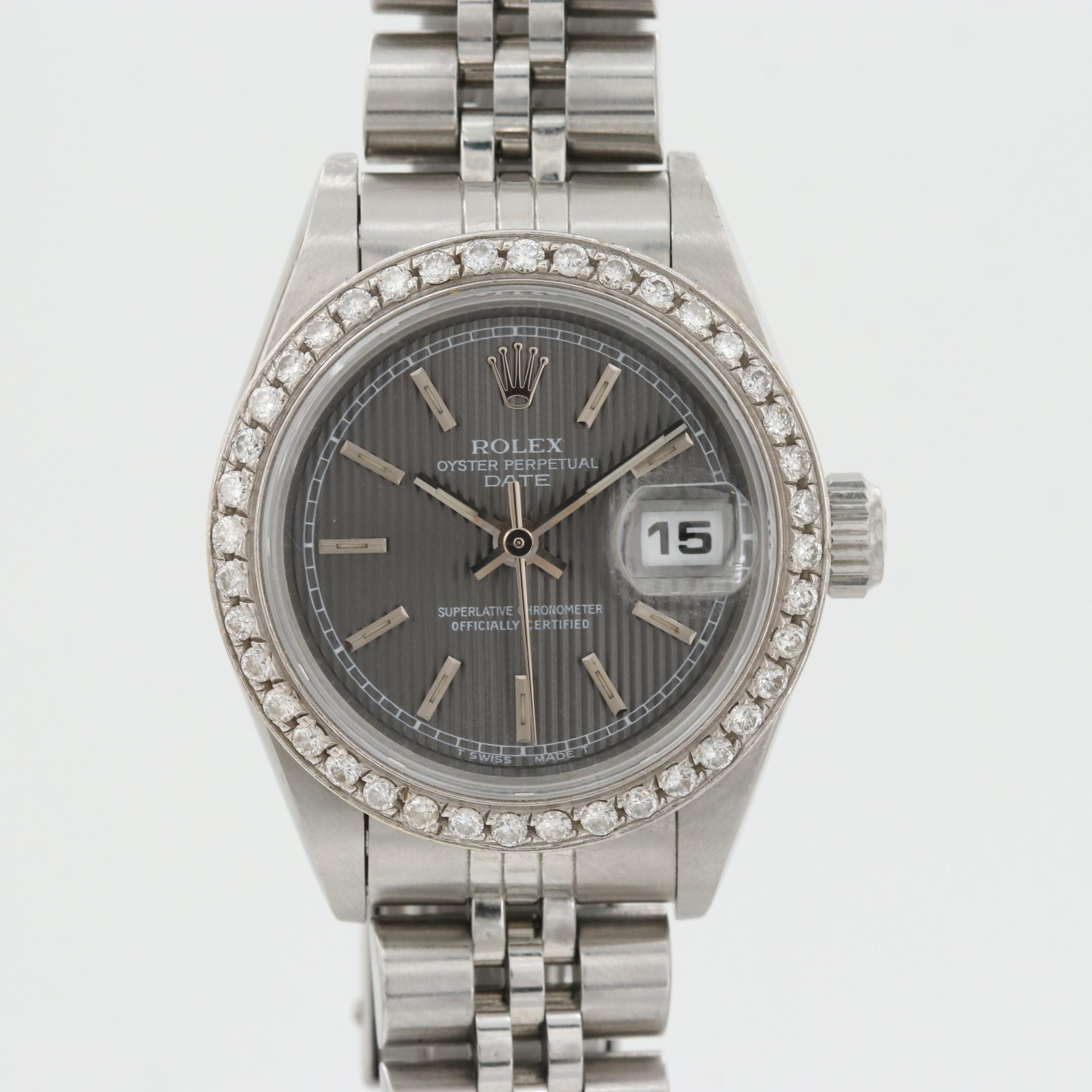 Rolex Stainless Steel and 18K White Gold Wristwatch With Diamond Bezel, 1995