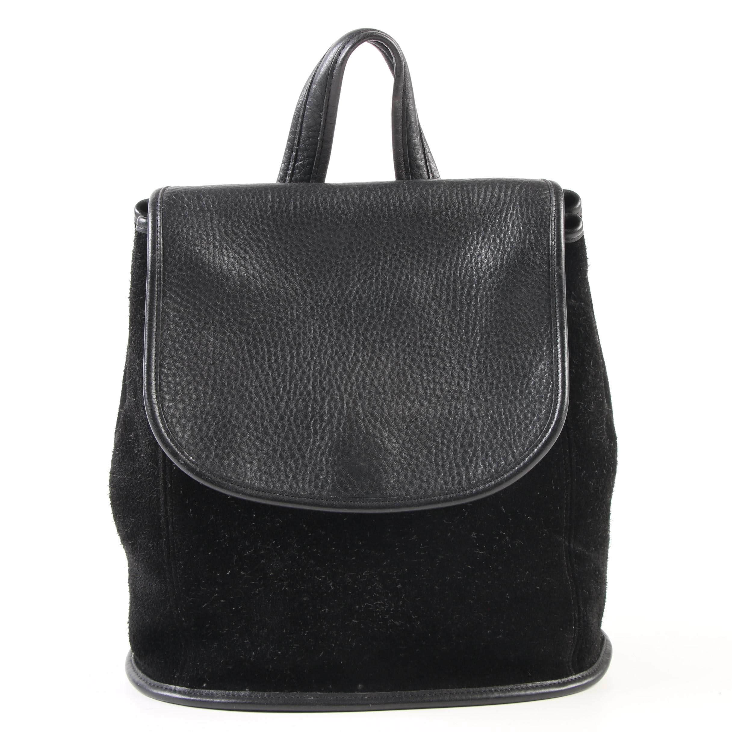 Coach Berkeley Backpack in Black Suede and Pebbled Leather, Vintage