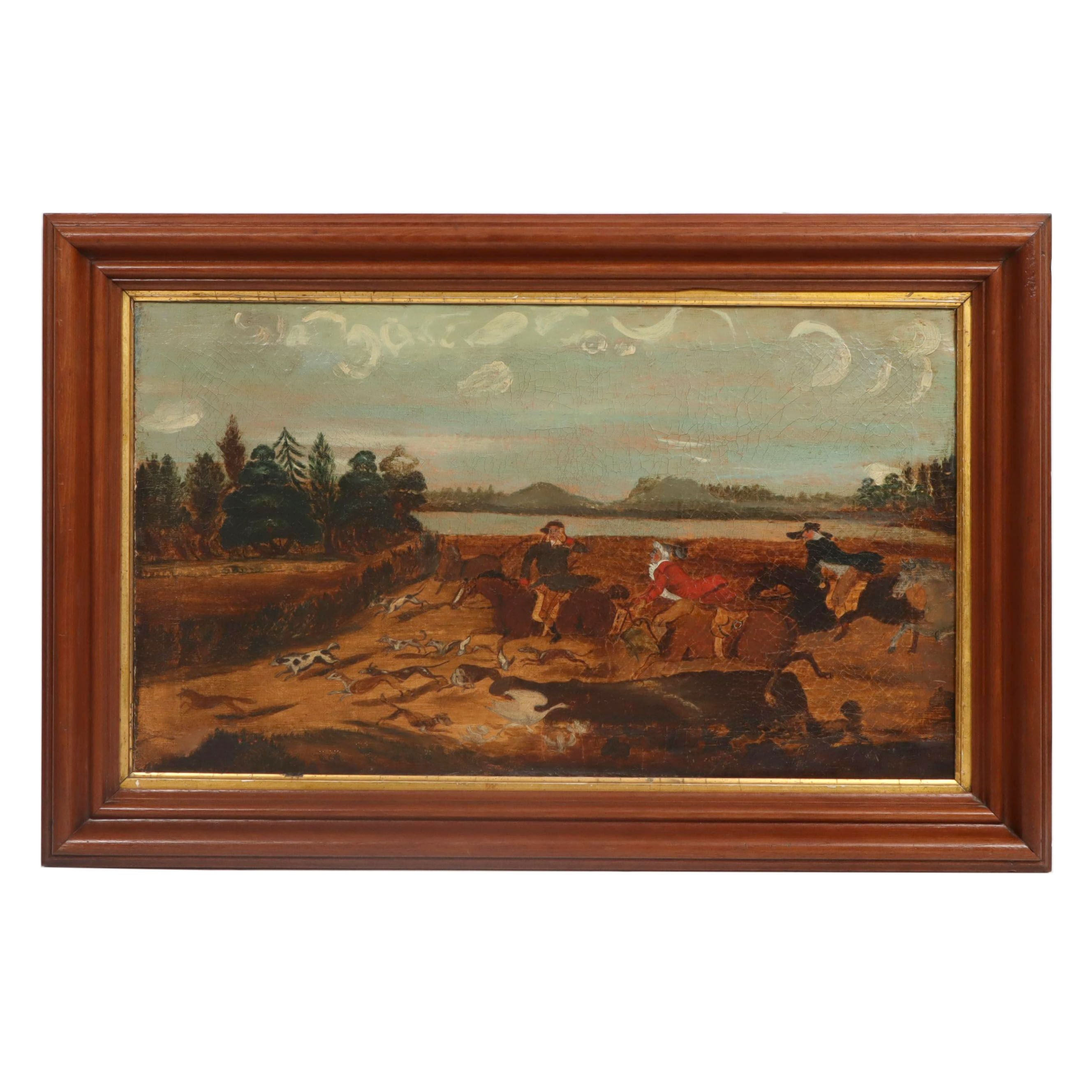 19th Century Oil Painting of a Fox Hunting Scene