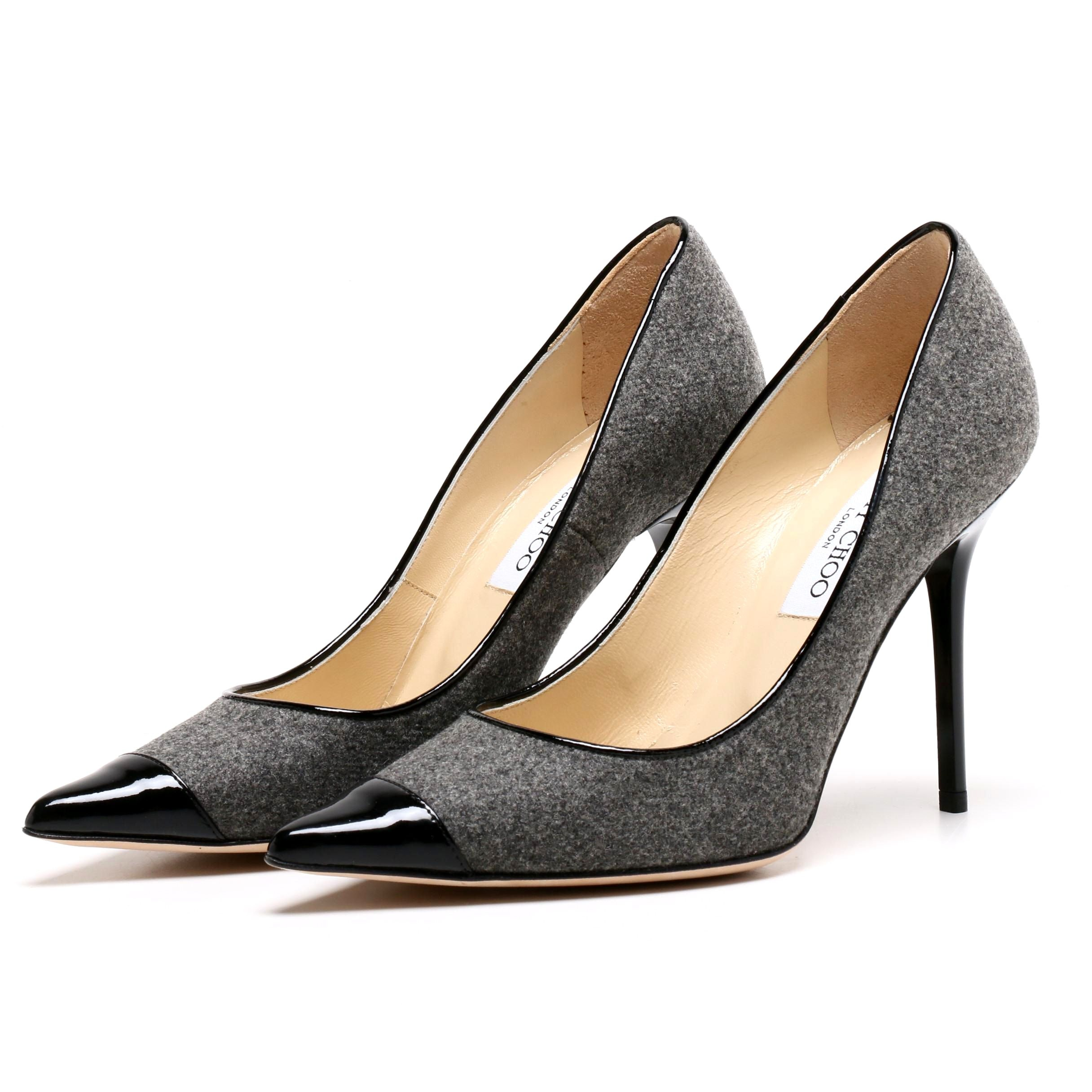 Jimmy Choo London Grey Wool and Black Patent Leather Pumps