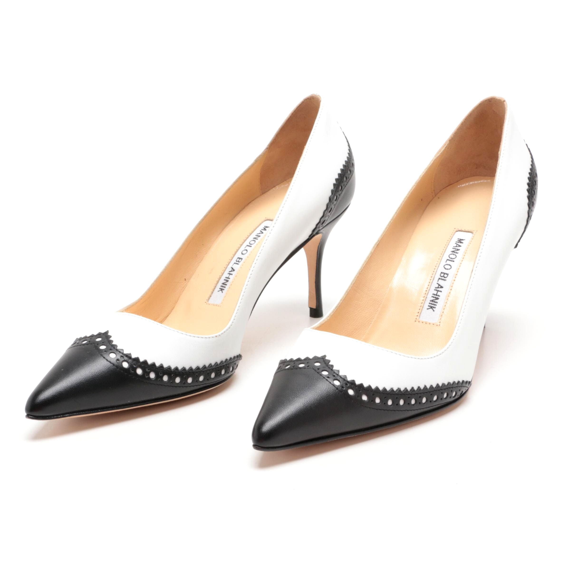 Manolo Blahnik White and Black Leather Wingtip Spectator Pumps