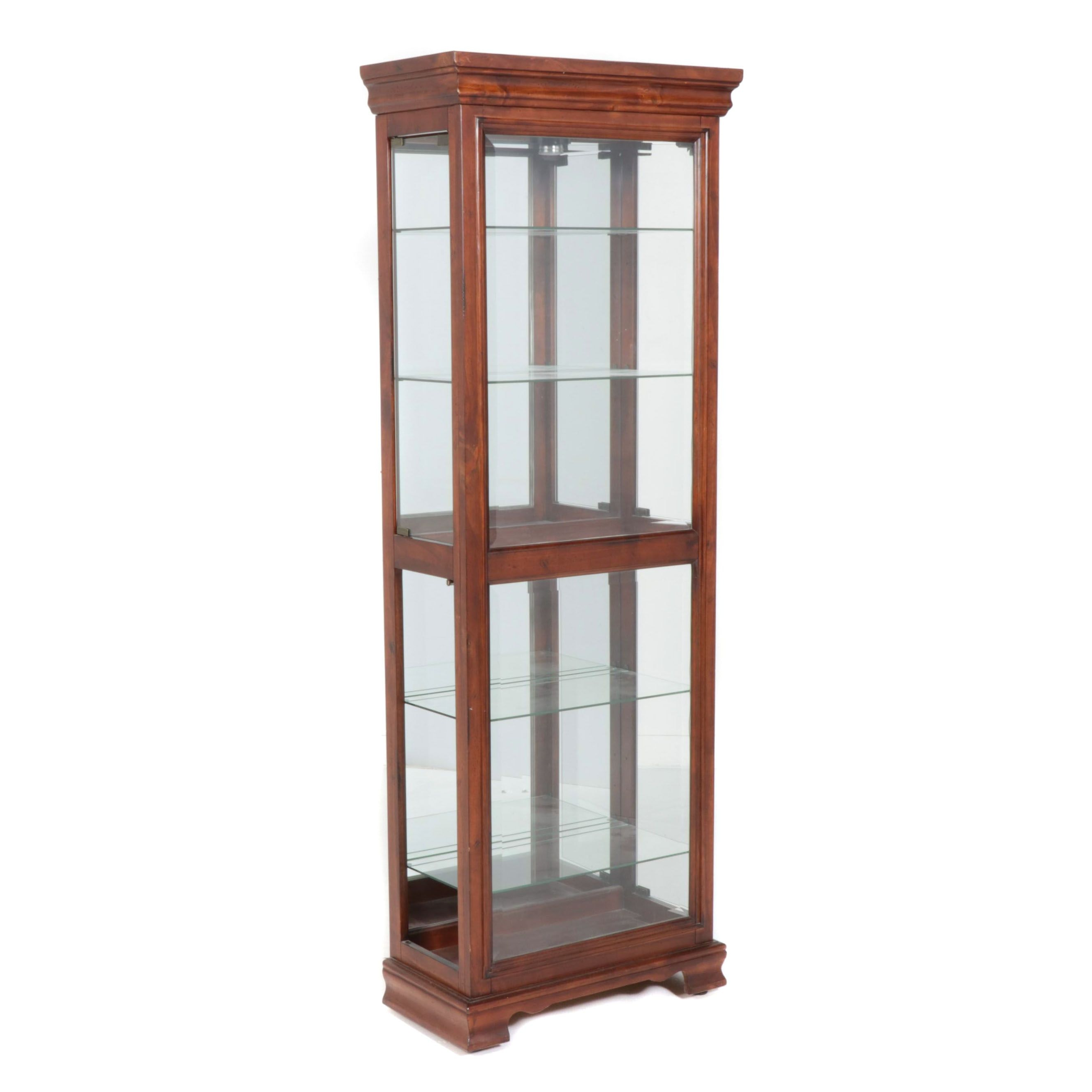 Contemporary Cherry Finish Glass Paneled Display Cabinet by American Signature