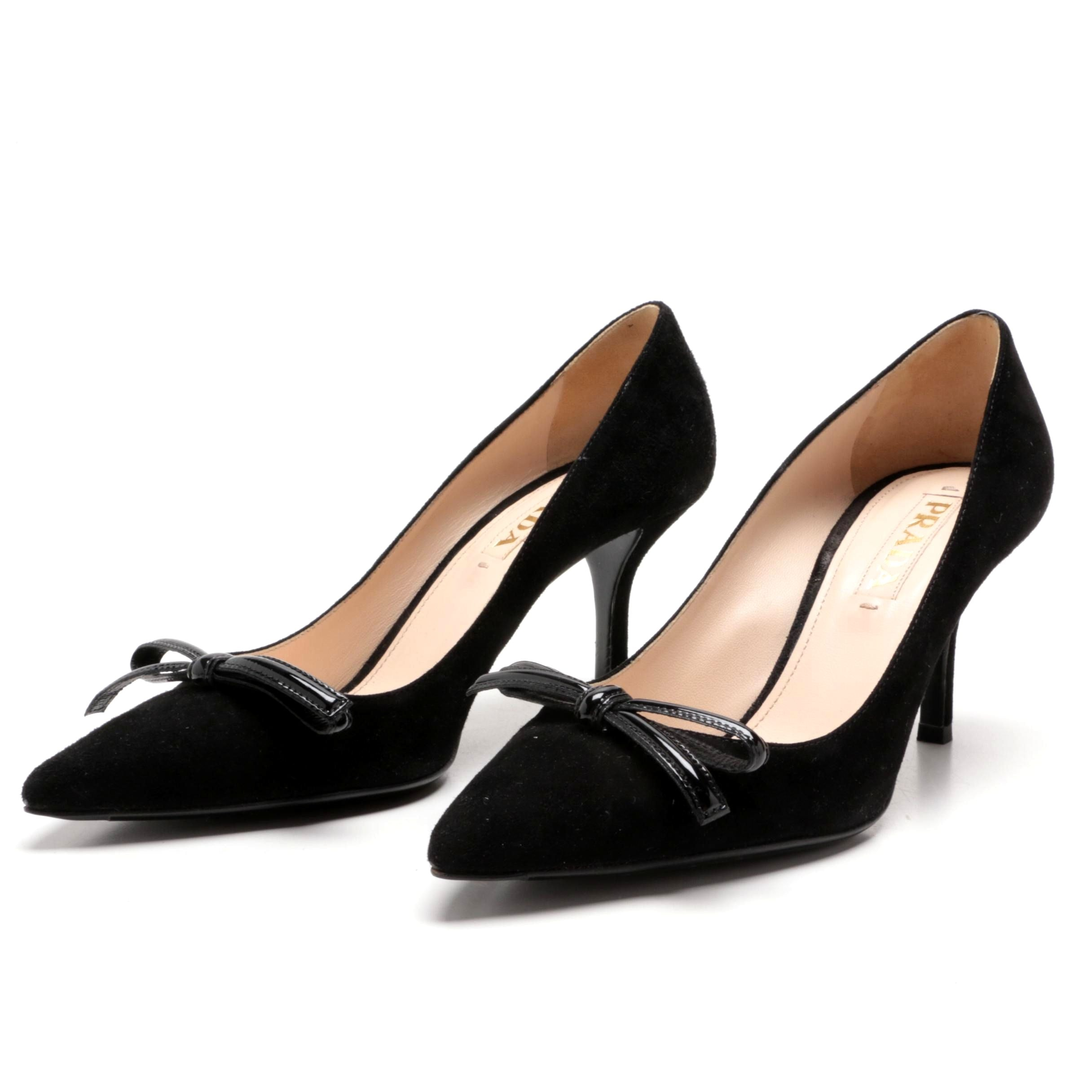 Prada Black Suede Pumps with Patent Leather Bow