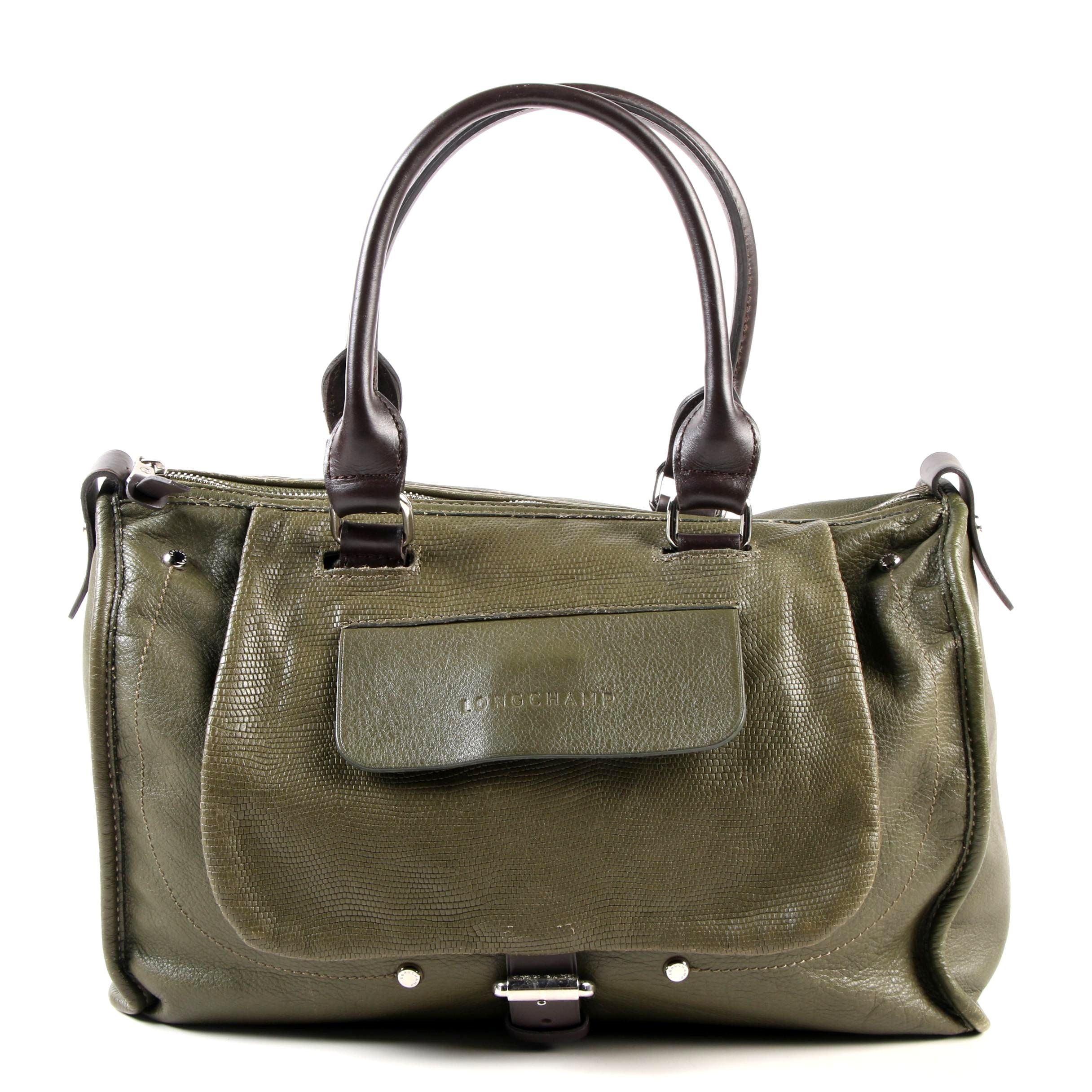 Longchamp Balzane Roots Satchel in Olive Green Leather with Brown Leather Handle