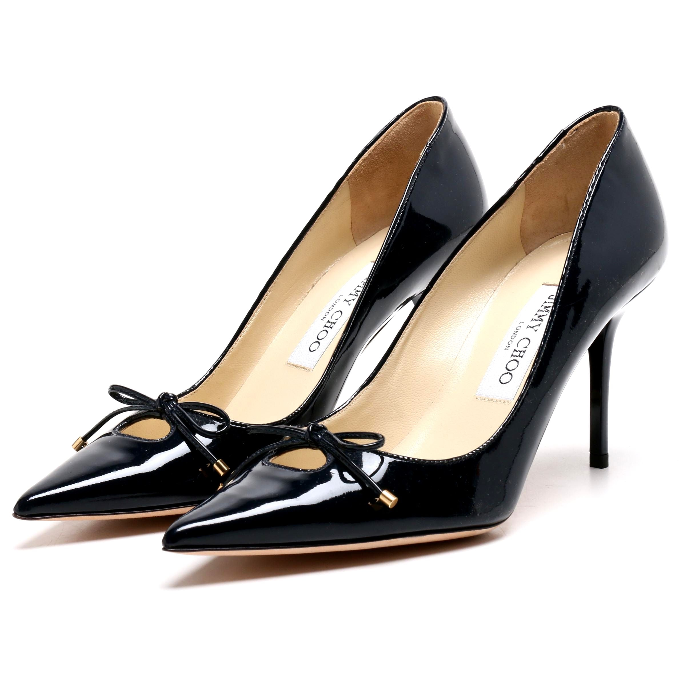 Jimmy Choo London Navy Blue Patent Leather Pumps with Bow
