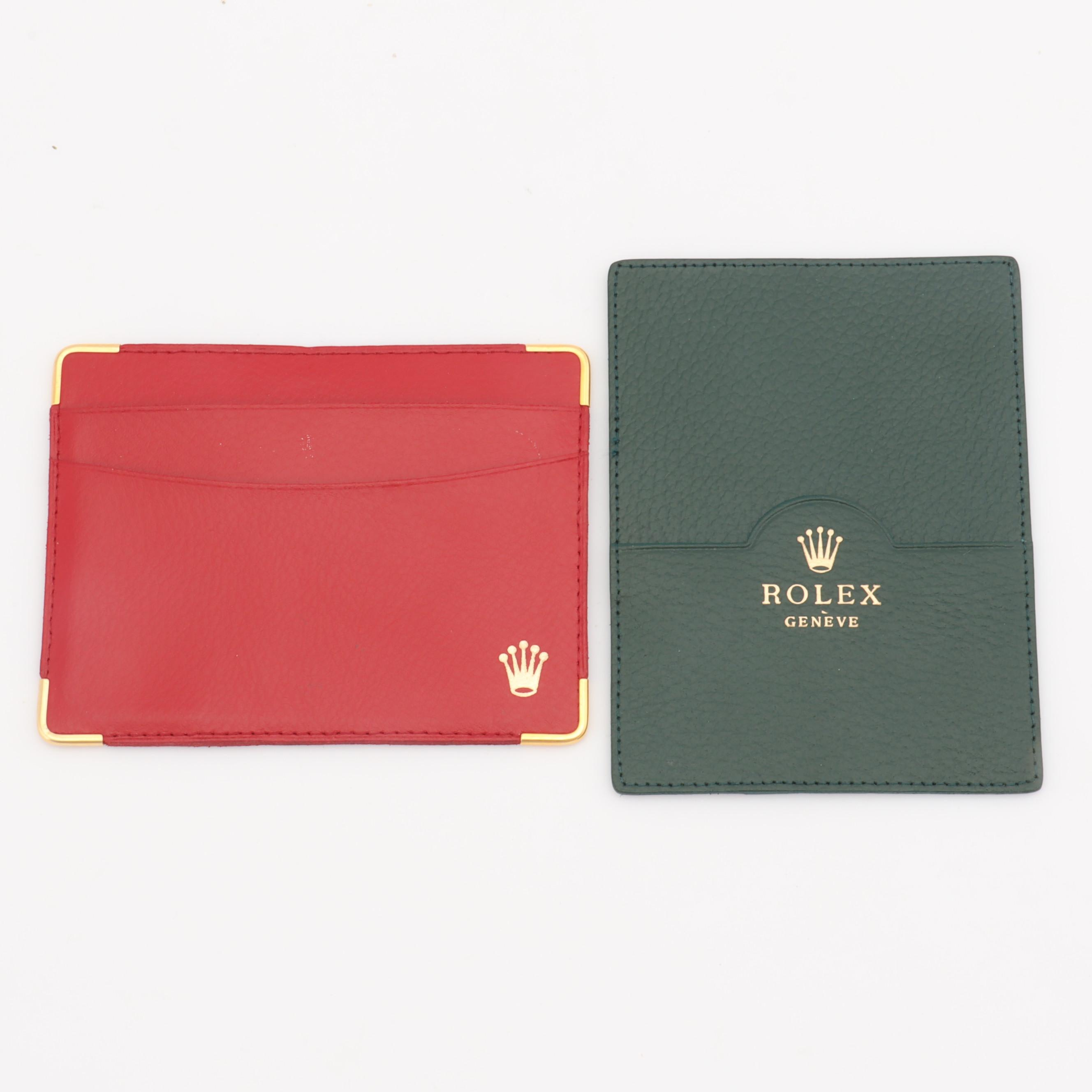 Rolex Accessories Red and Green Grained Leather Card Cases with Gold Tone Trim