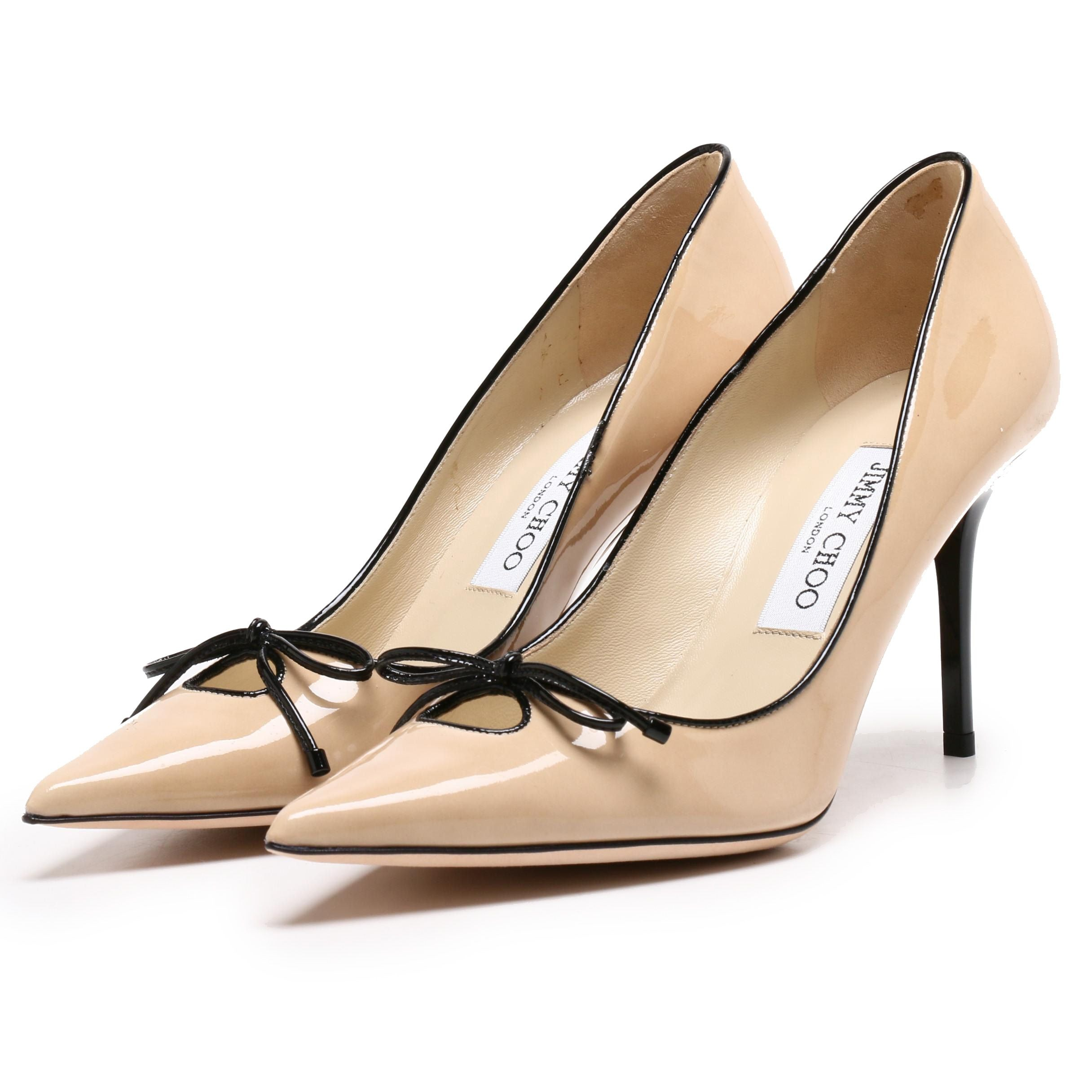 Jimmy Choo London Tan Patent Leather Pumps Trimmed in Black with Bow