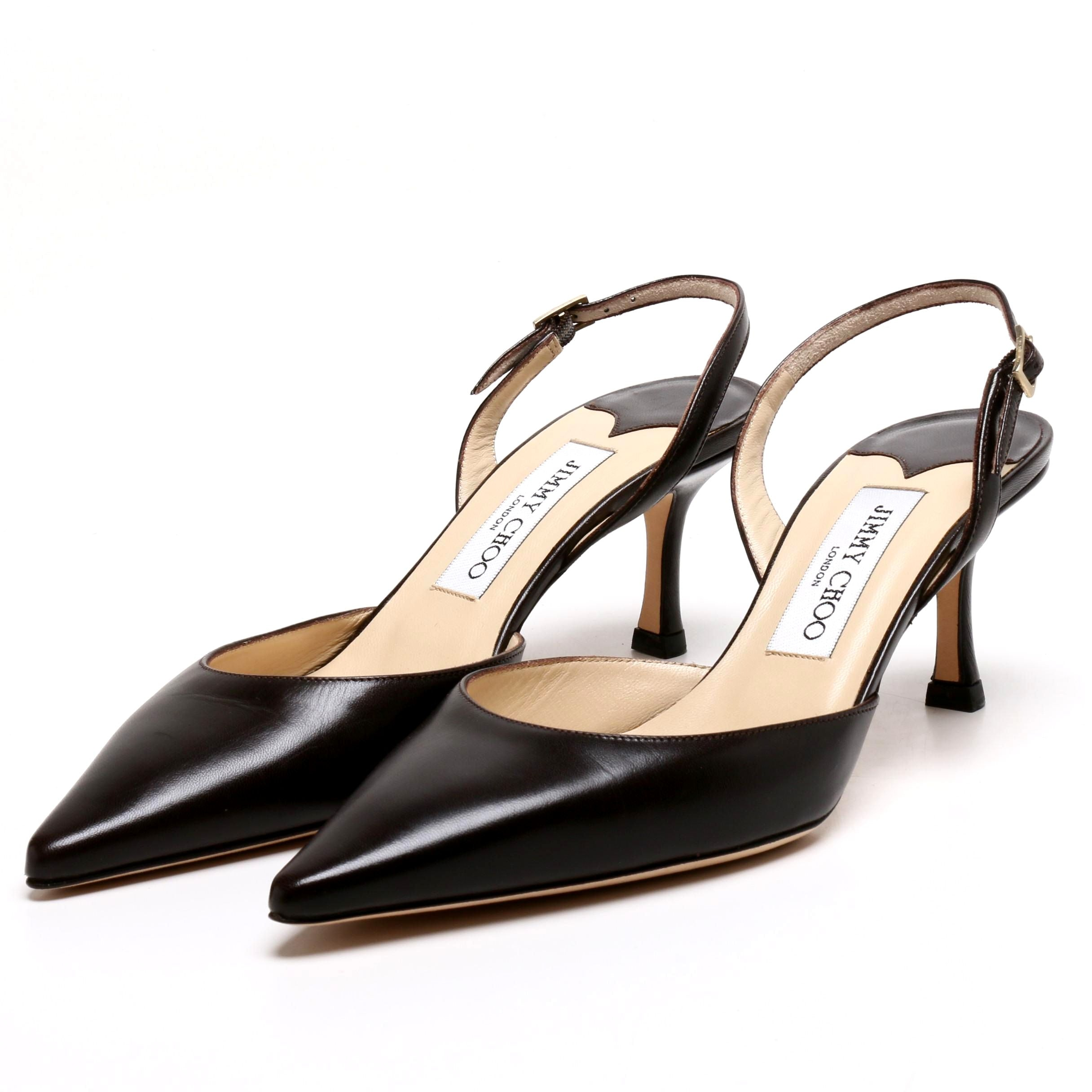 Jimmy Choo London Dark Brown Leather Slingback Heels