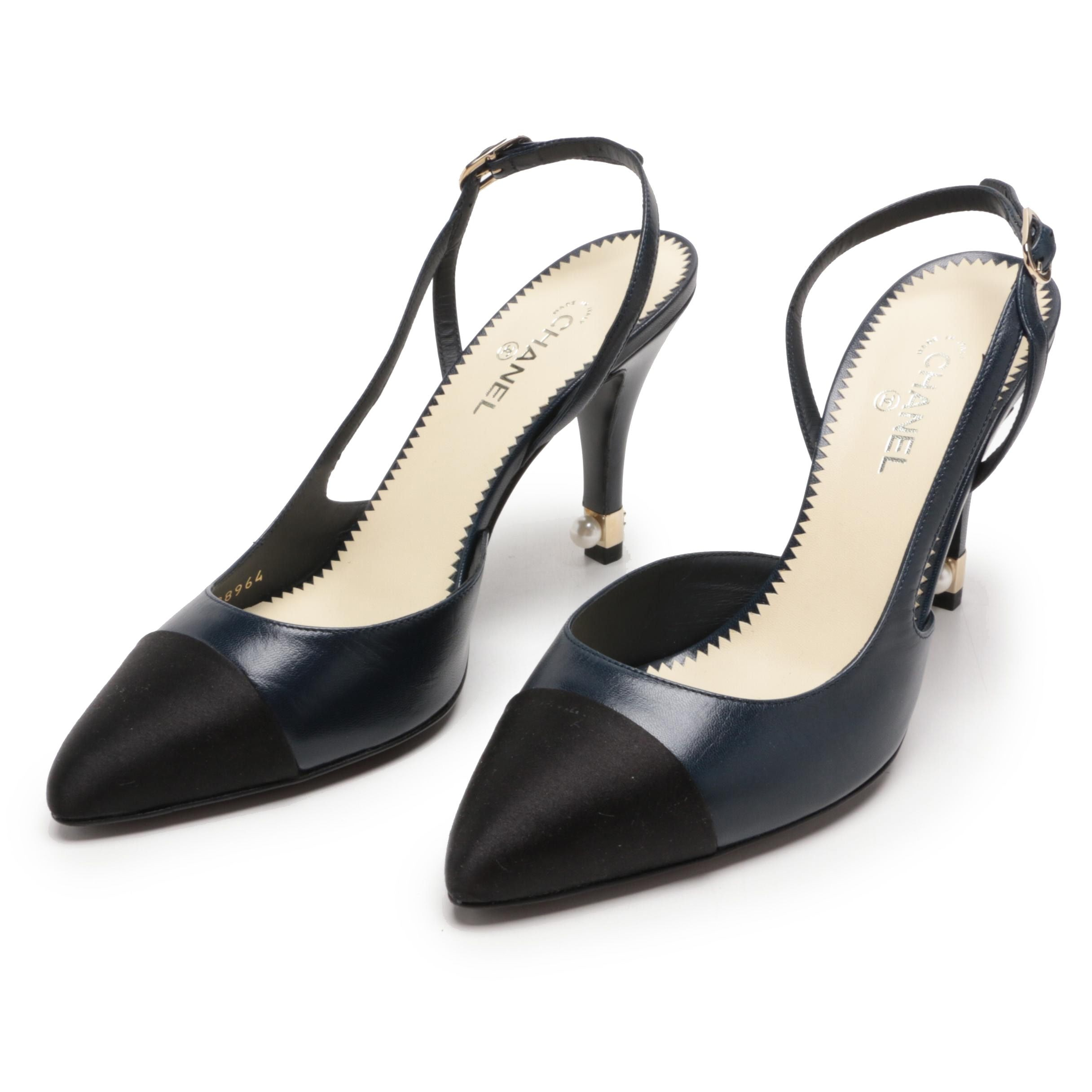 Chanel Navy Blue Leather and Black Satin Slingback Heels