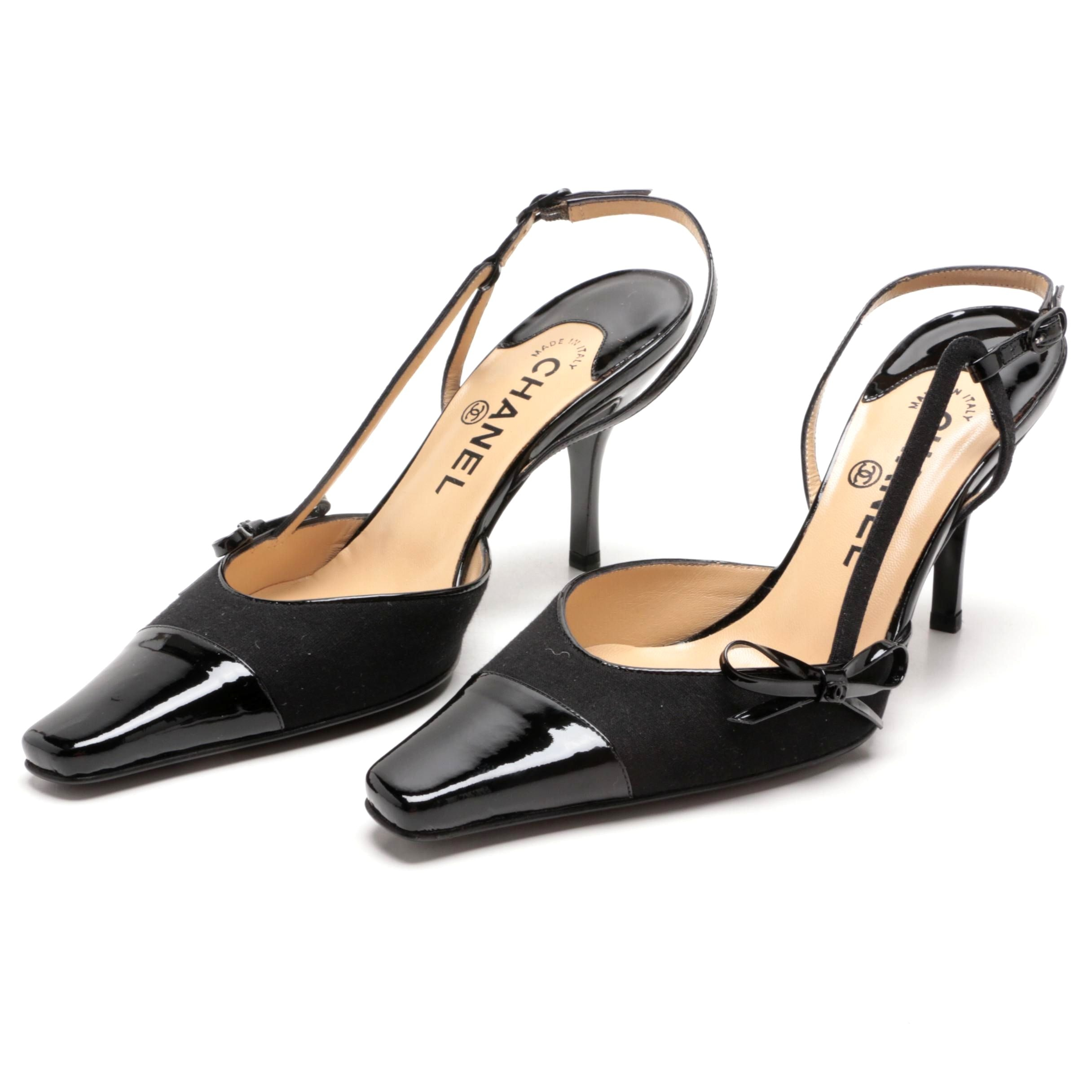 Chanel Black Twill and Patent Leather Slingback Heels with Bow