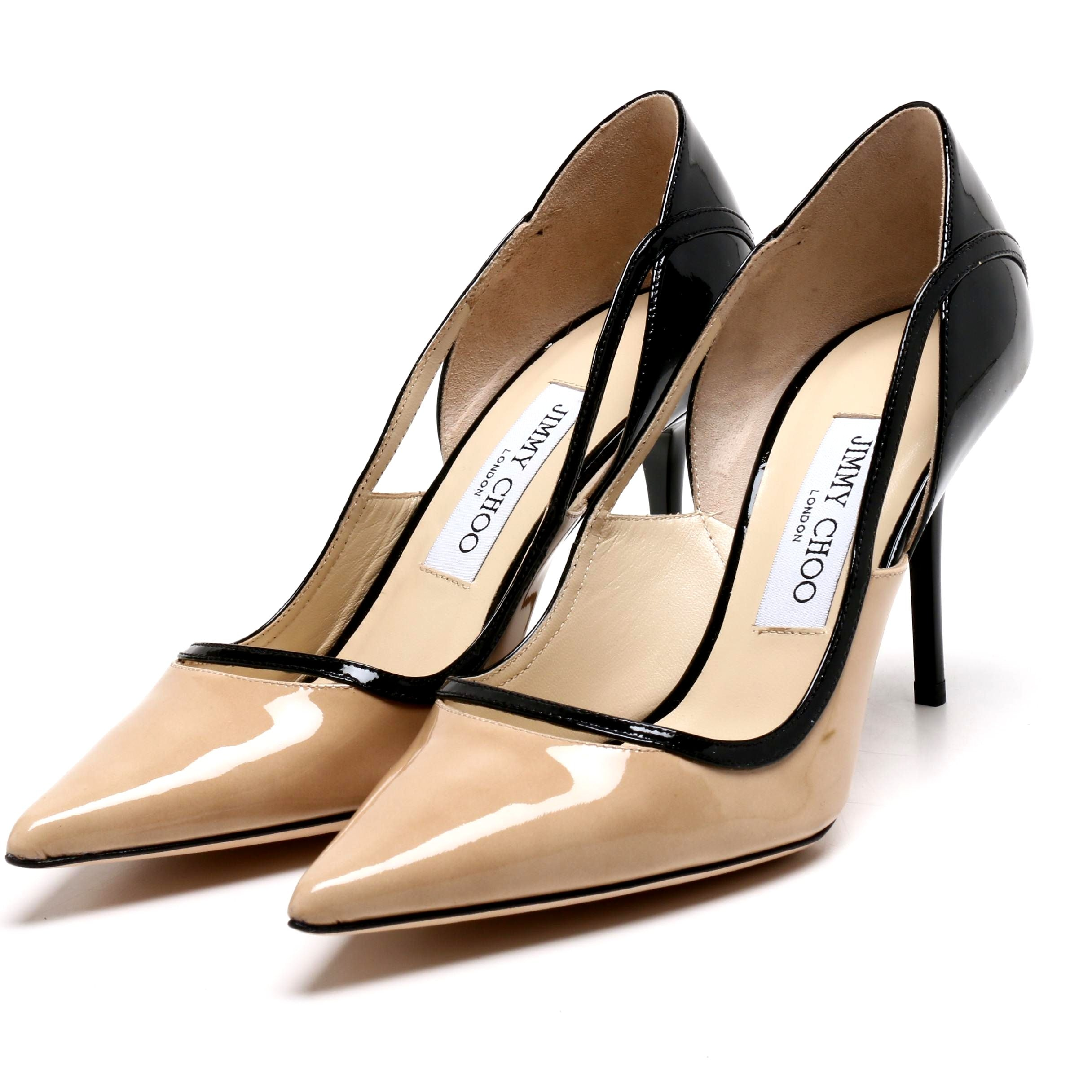 Jimmy Choo London Tan and Black Patent Leather Cutout Pumps