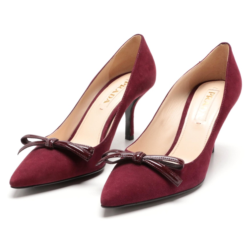 Prada Plum Suede Pumps with Patent Leather Bow