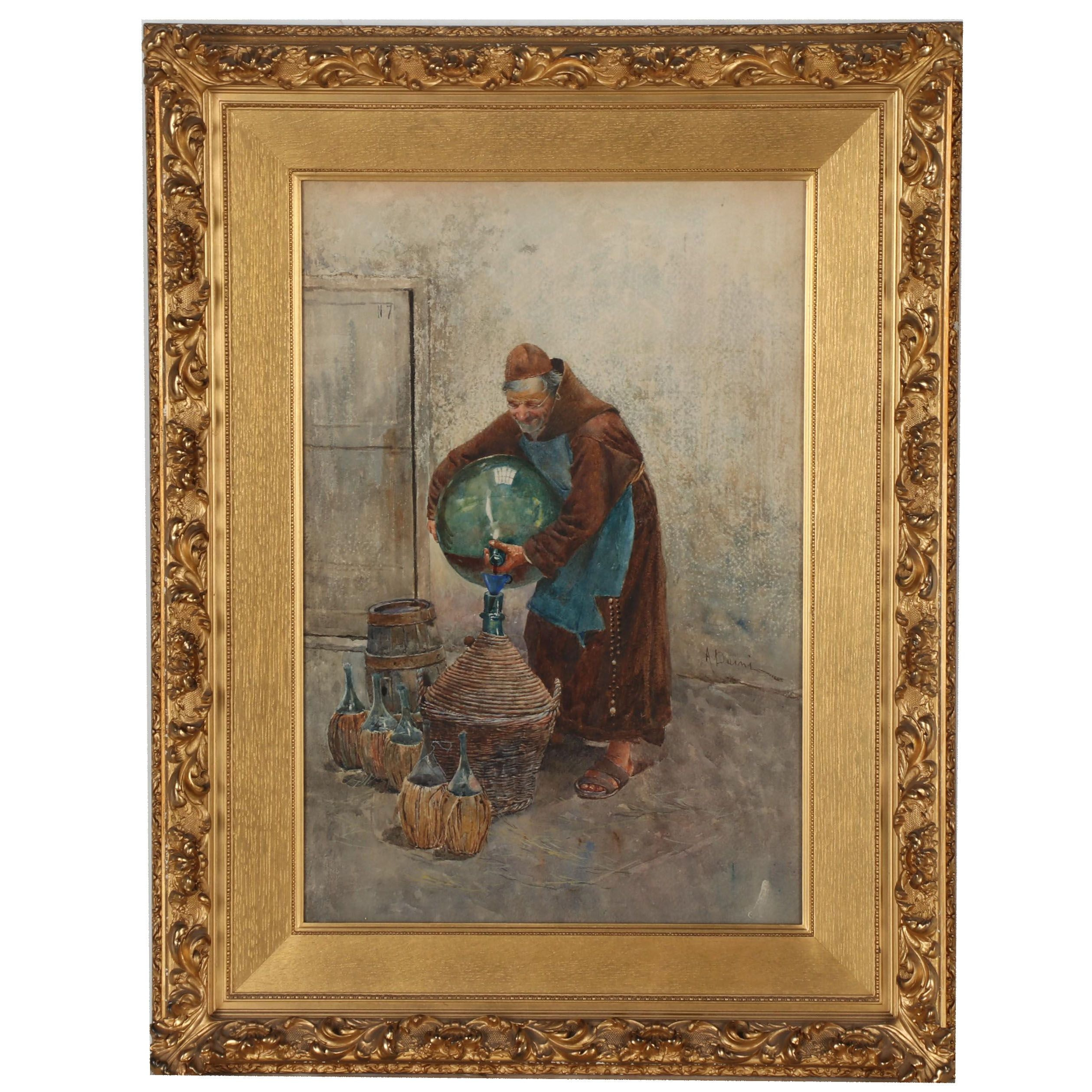 Augusto Daini Genre Scene Watercolor Painting of Friar