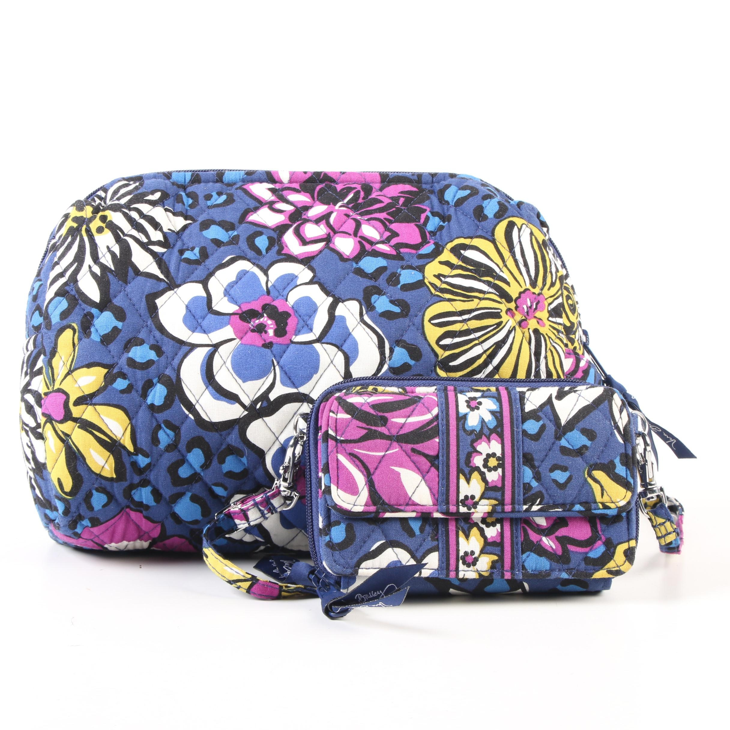 """Vera Bradley """"African Violet """"Cotton Crossbody Wallet and Cosmetic Pouch"""