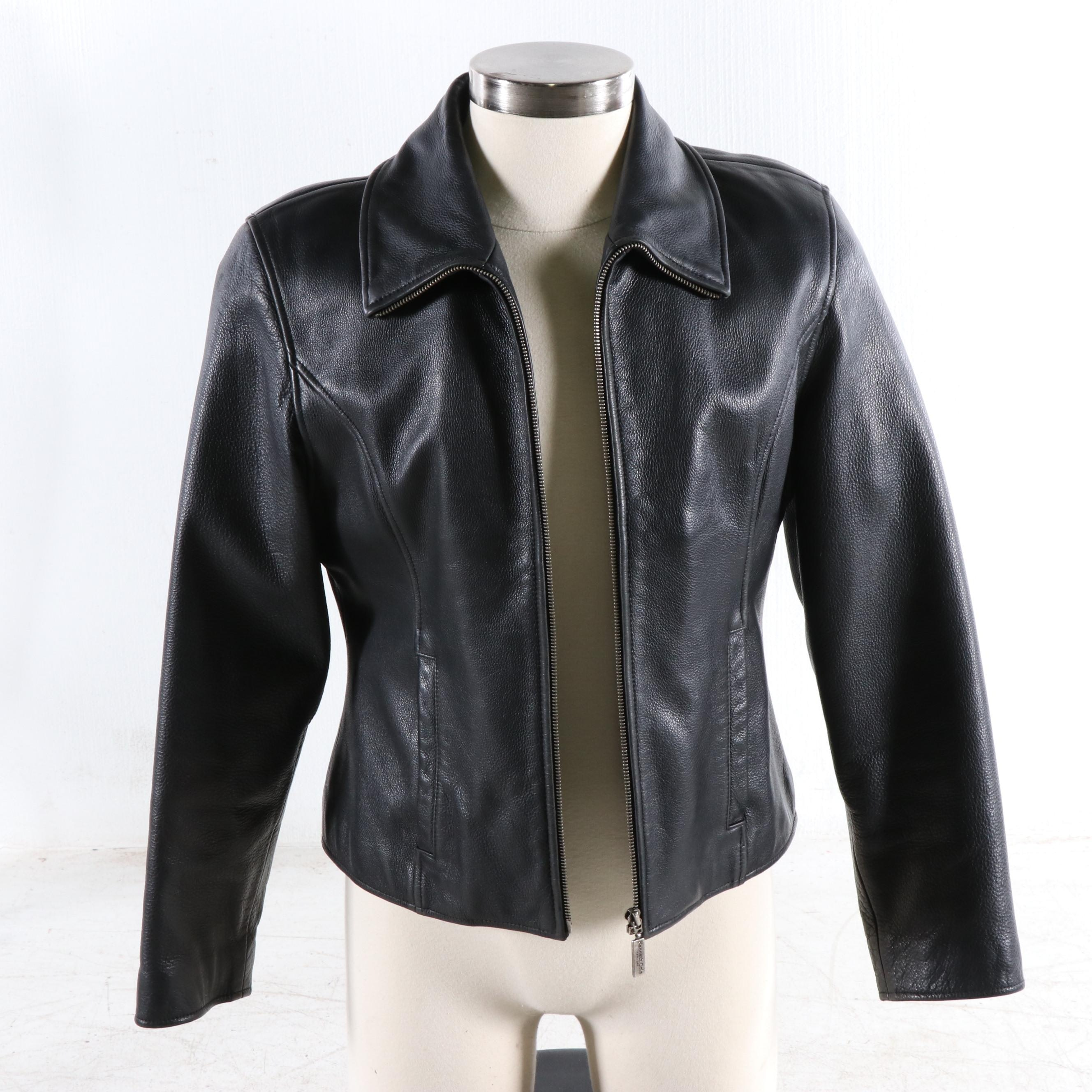 Men's Kenneth Cole Black Pebbled Leather Jacket