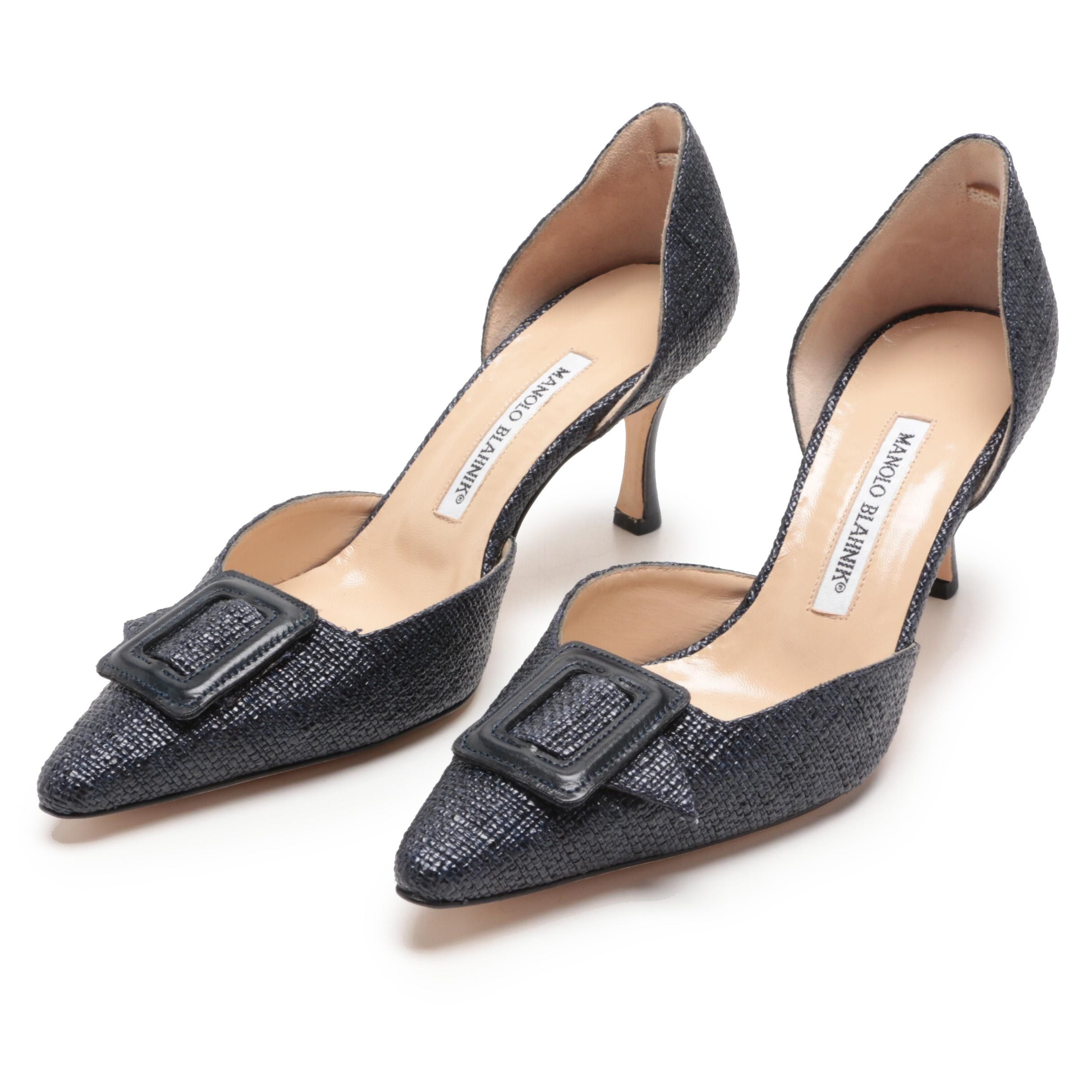 Manolo Blahnik Dark Blue Woven Raffia d'Orsay Pumps