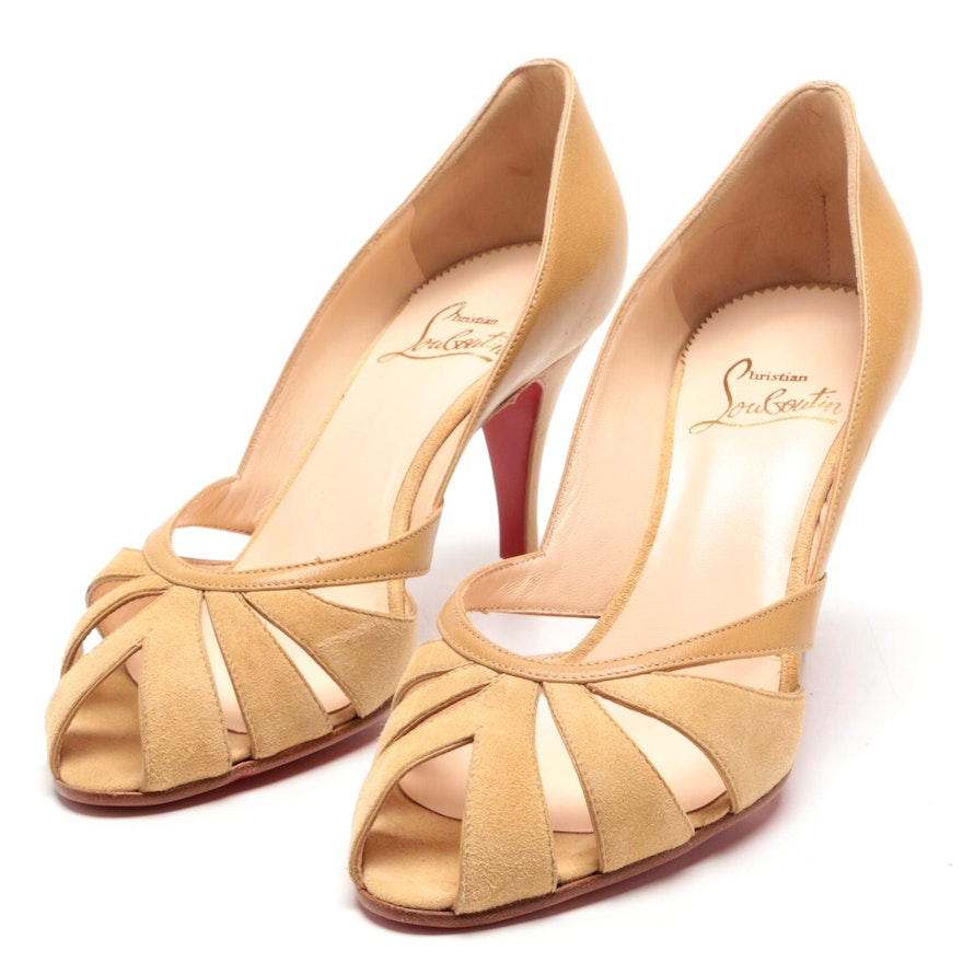 best service 0f385 8d87c Christian Louboutin Tan Leather and Suede Peep-Toe Pumps