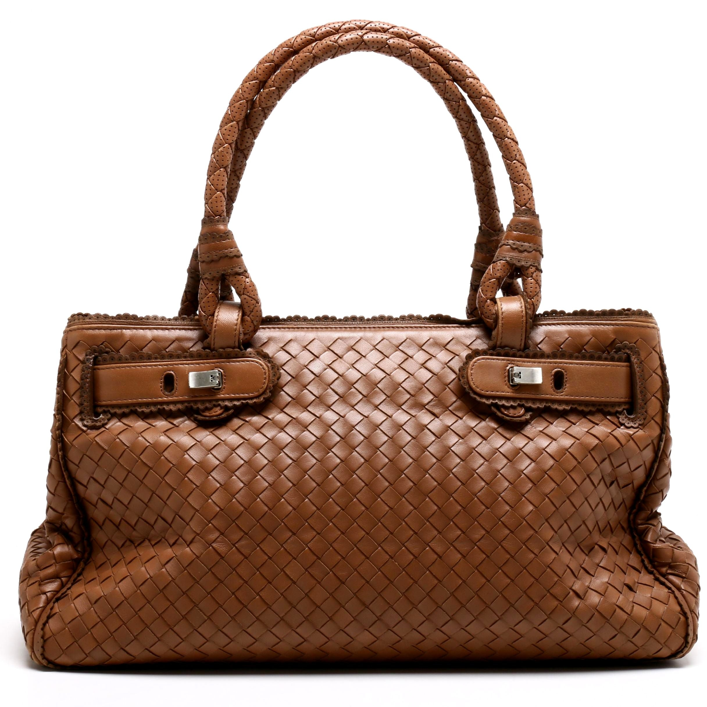 Bottega Veneta Light Brown Intrecciato Woven Leather Tote Bag