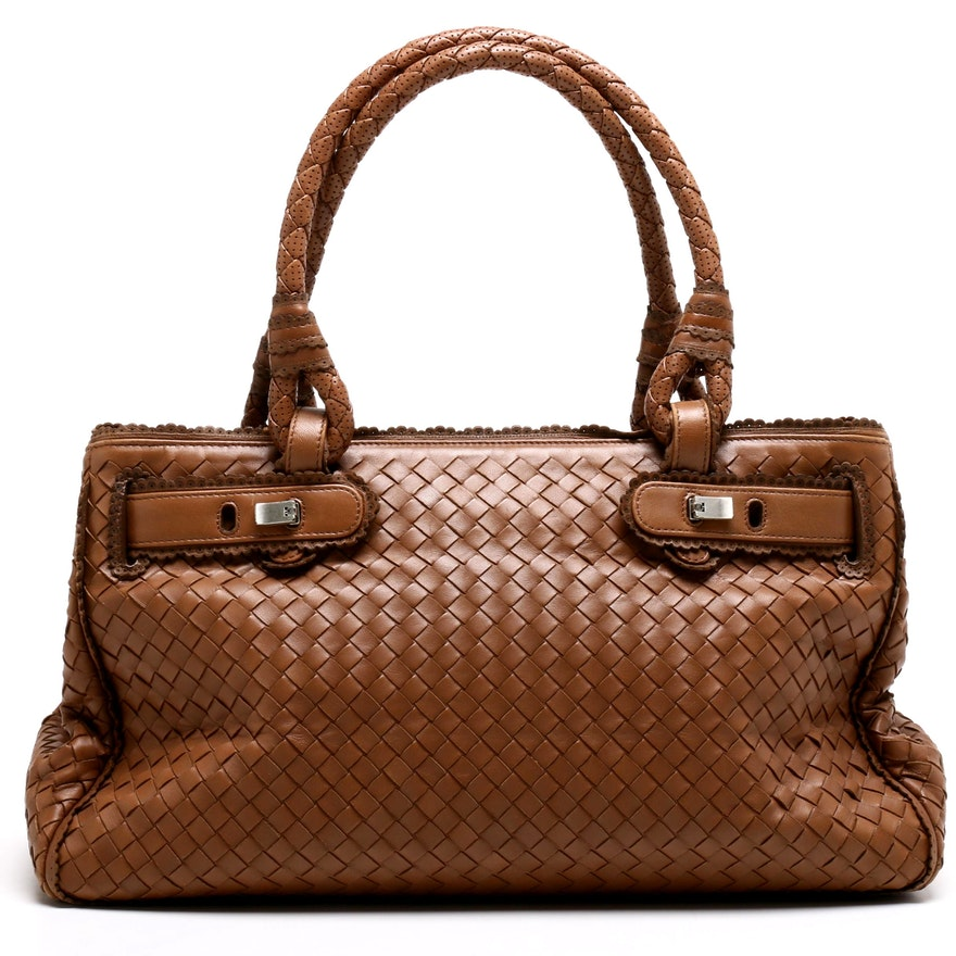 1d6903ac47fd Bottega Veneta Light Brown Intrecciato Woven Leather Tote Bag | EBTH