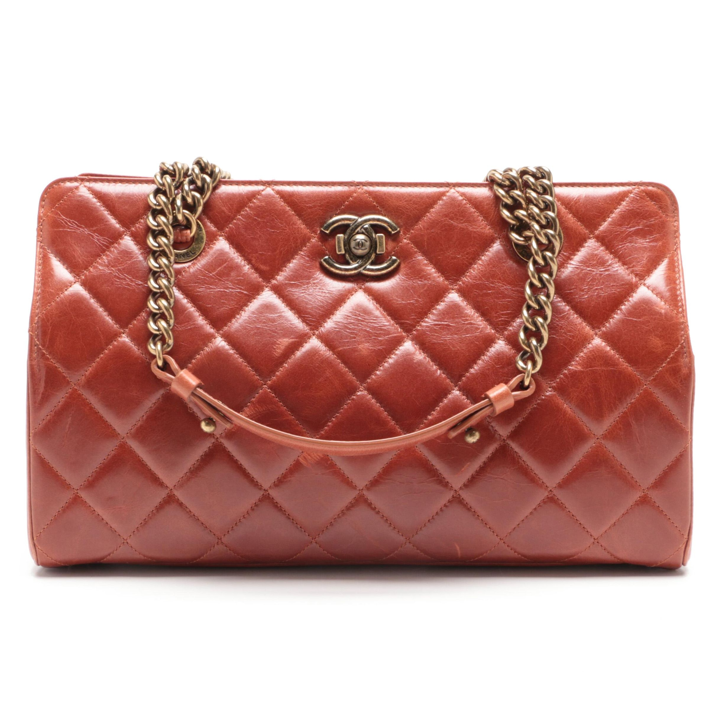 Chanel Brown Quilted Lambskin Leather Satchel