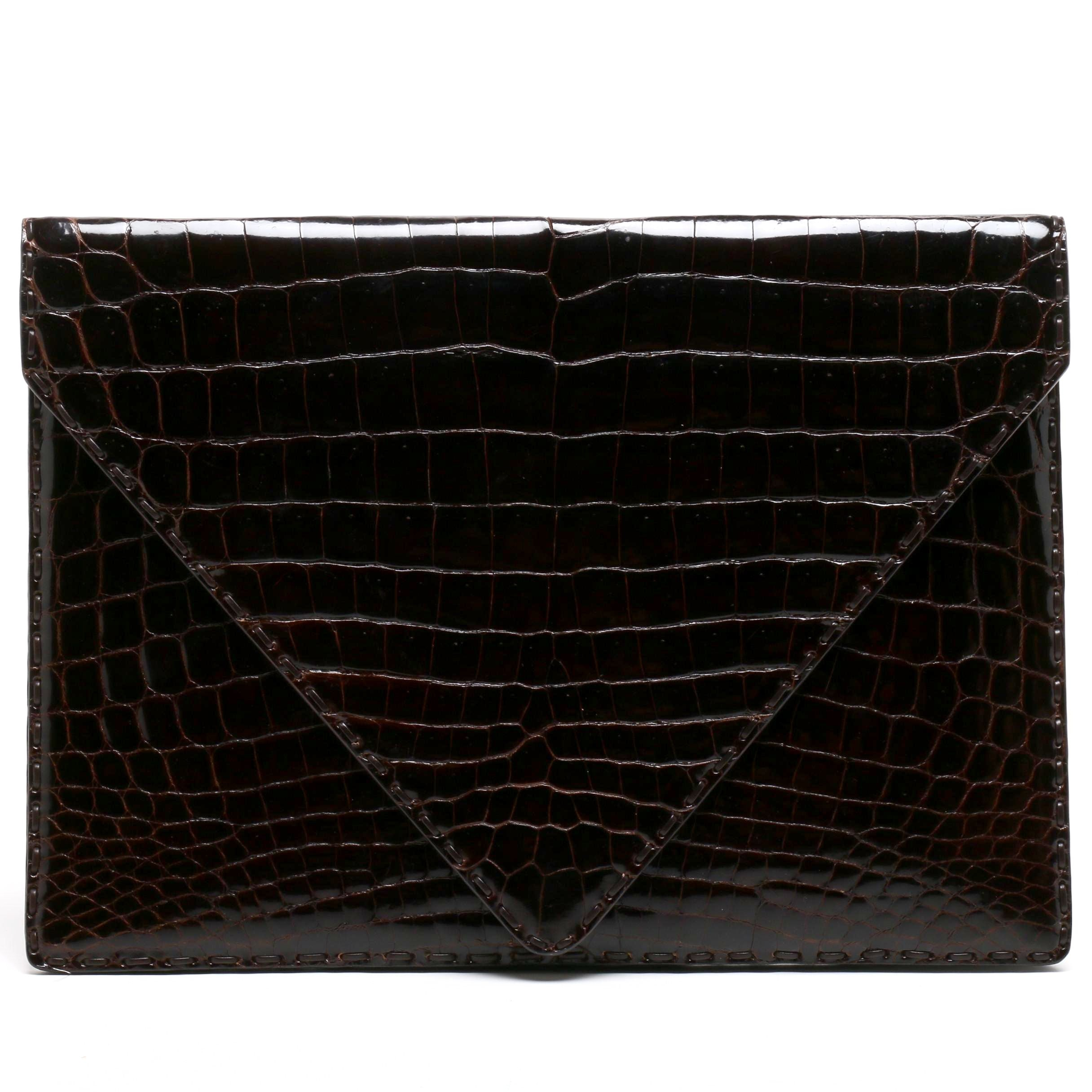 Bottega Veneta Dark Brown Crocodile Envelope Clutch