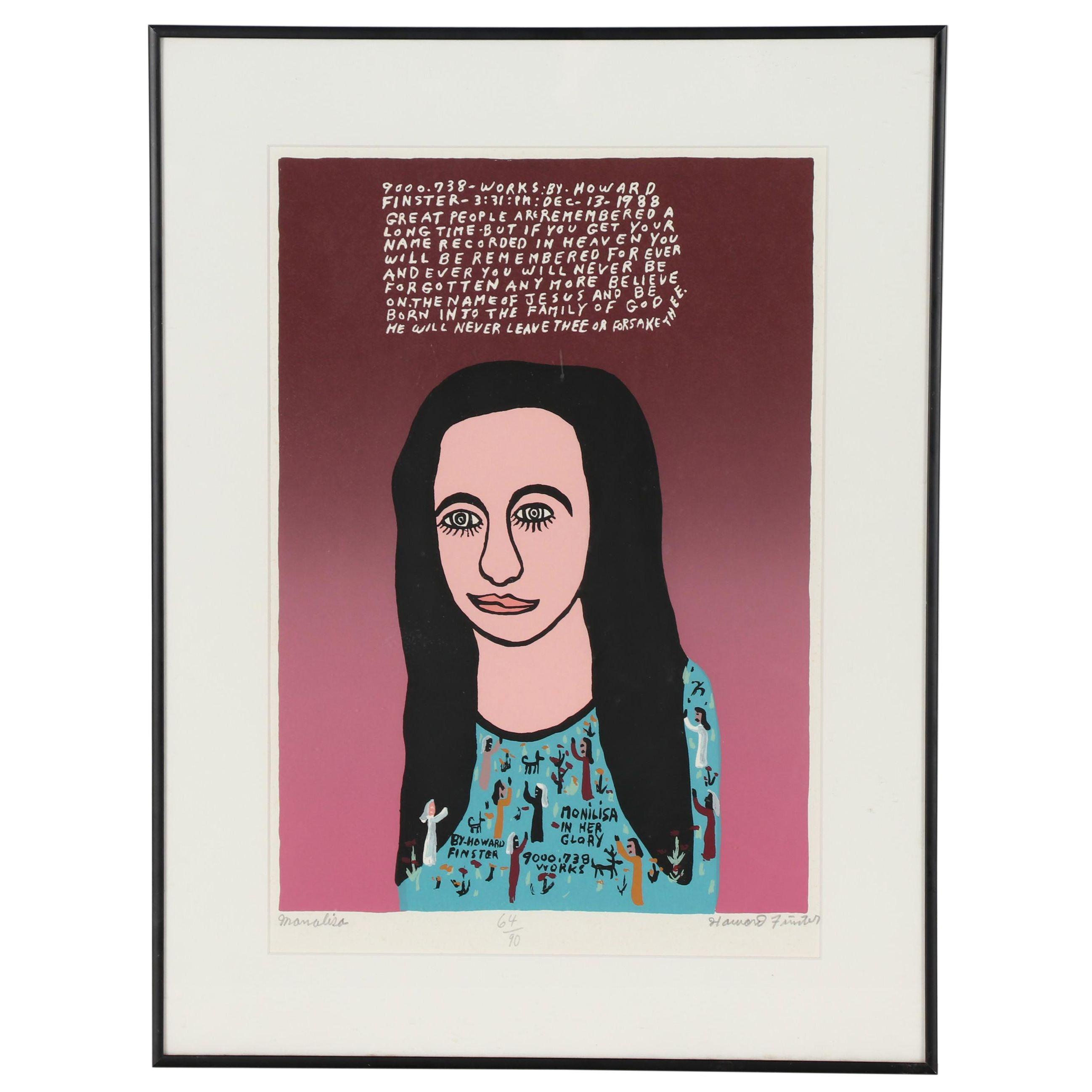 "Howard Finster 1988 Serigraph ""Mona Lisa"""
