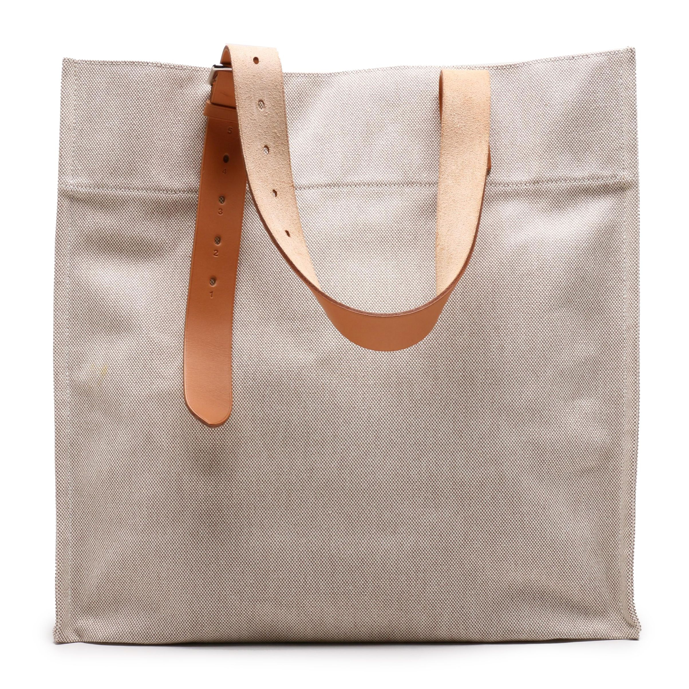 Hermès Canvas and Natural Vache Hunter Leather Etrivière Shopping Tote Bag