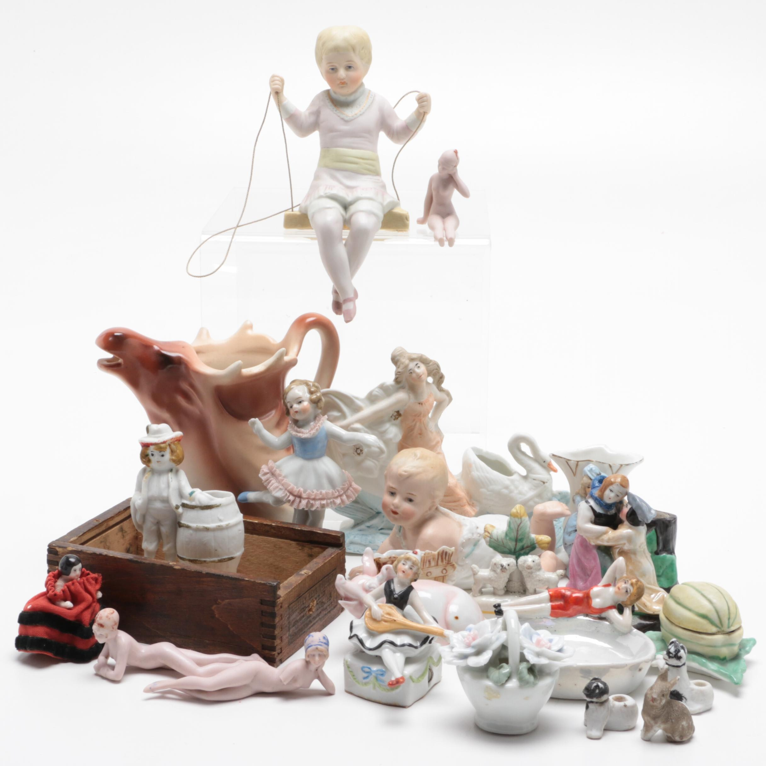 Hand-Painted Porcelain and Ceramic Figurines, Early 20th Century