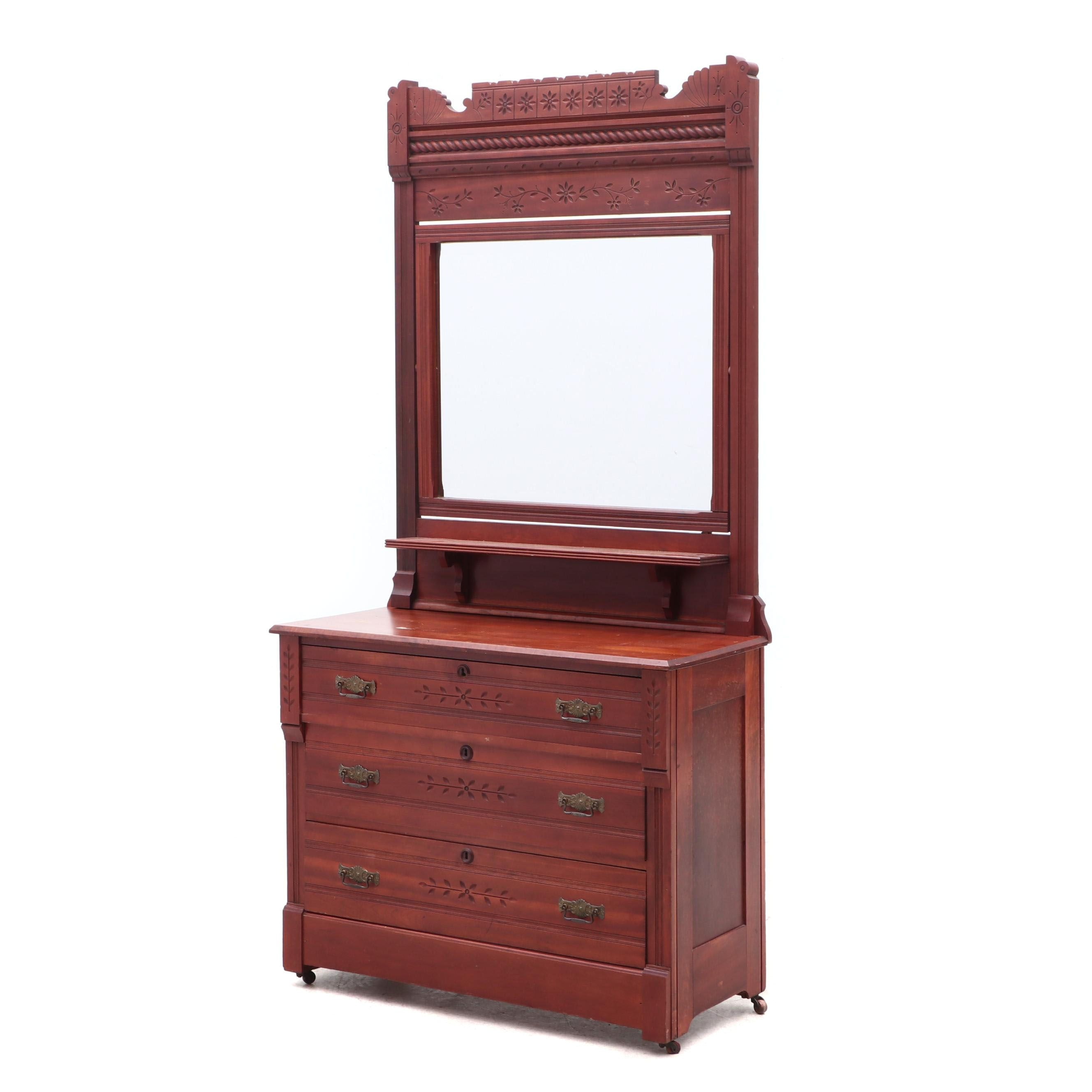 Antique Eastlake Chest of Drawers with Mirror