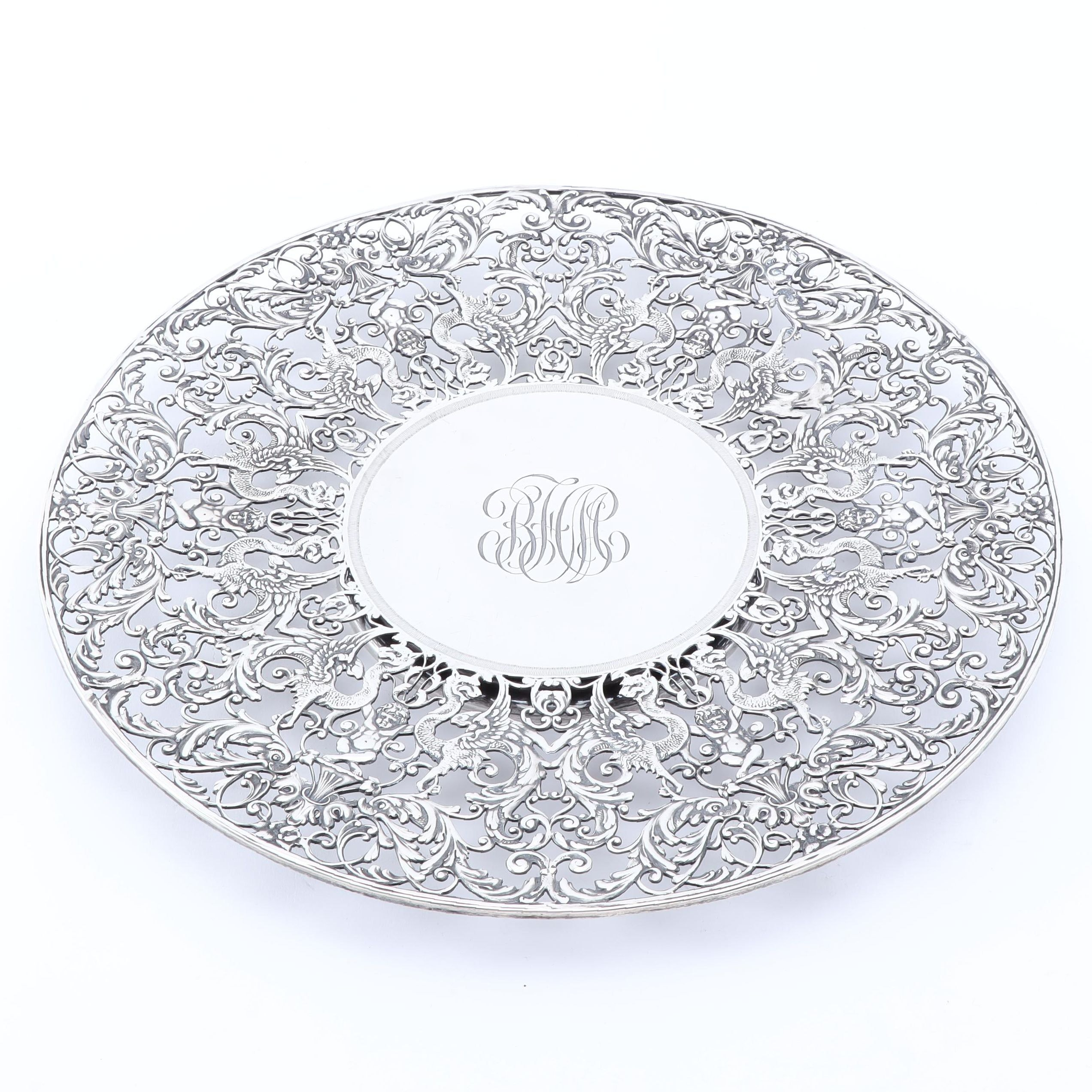 Roger Williams Rococo Sterling Silver Cake Stand