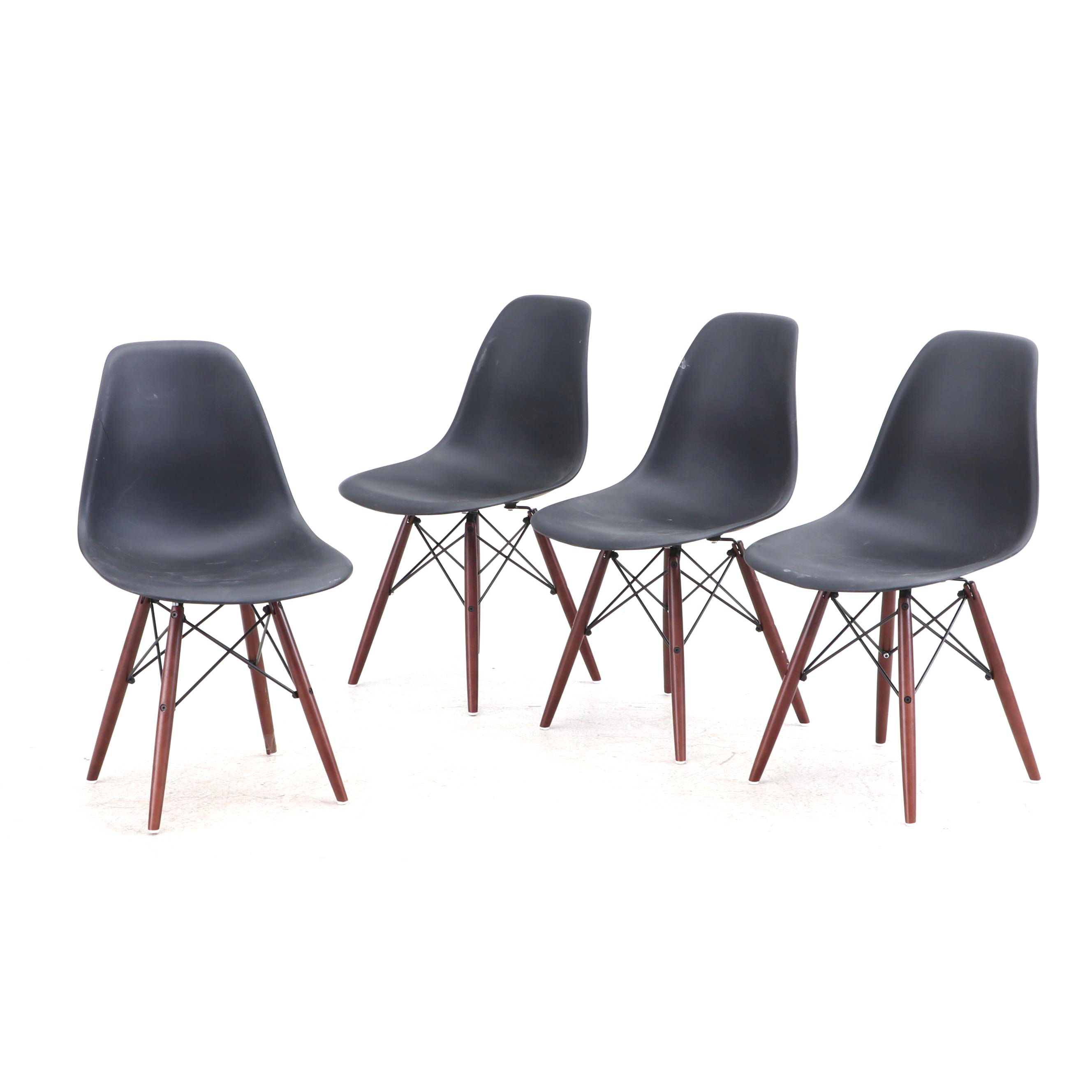 Eiffel Style Molded Shell Side Chairs with Walnut Finish Legs, Contemporary