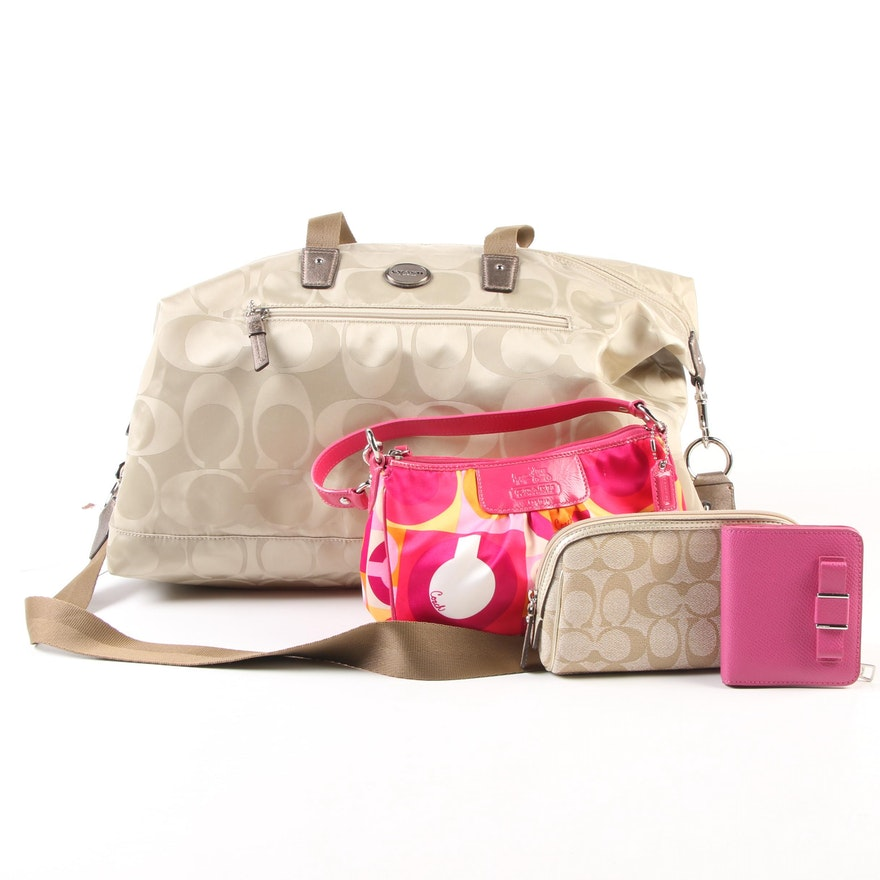 Coach Getaway Nylon Duffle with Optic Scarf Print Handbag and Darcy Bow Bifold