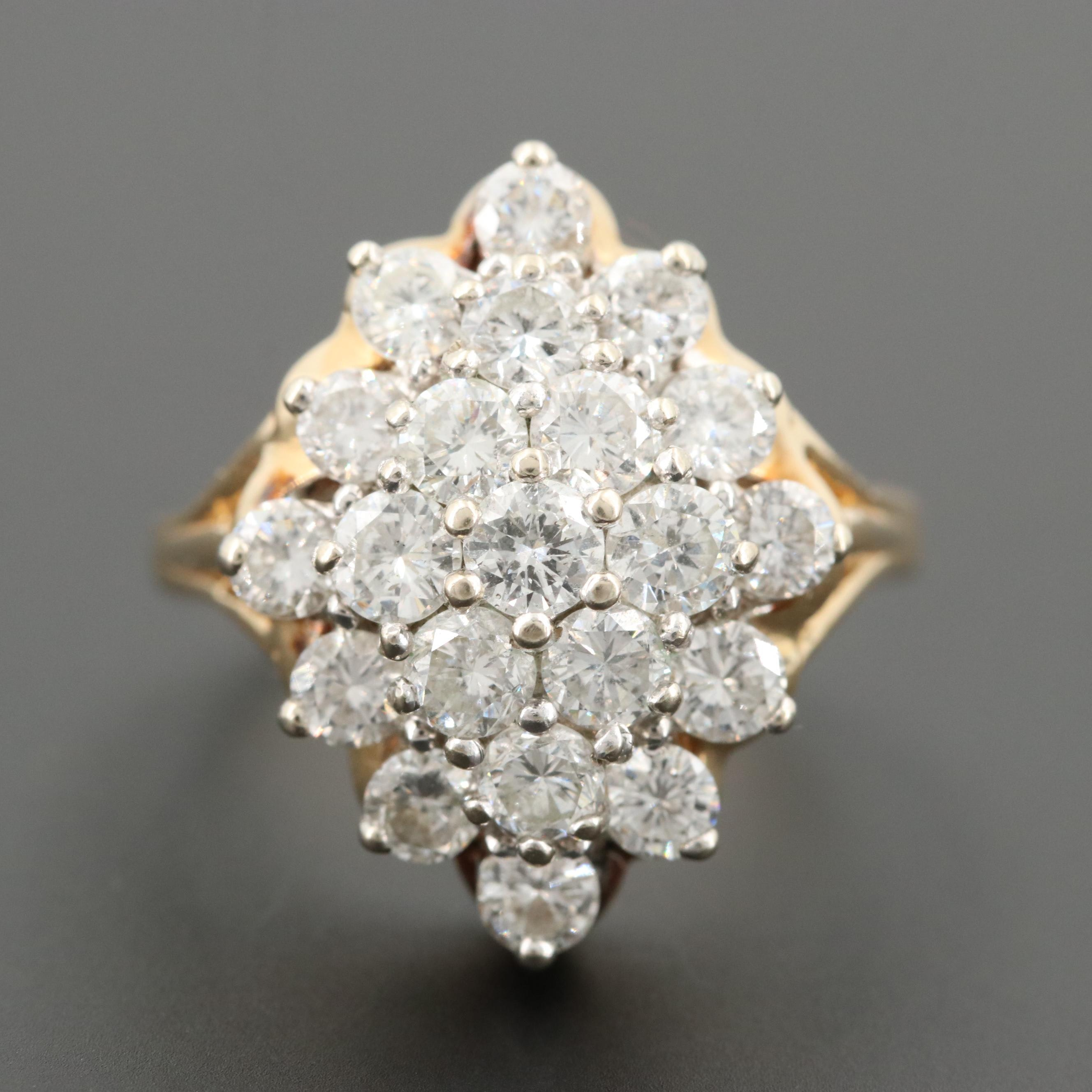 14K Yellow Gold 2.00 CTW Diamond Cluster Ring