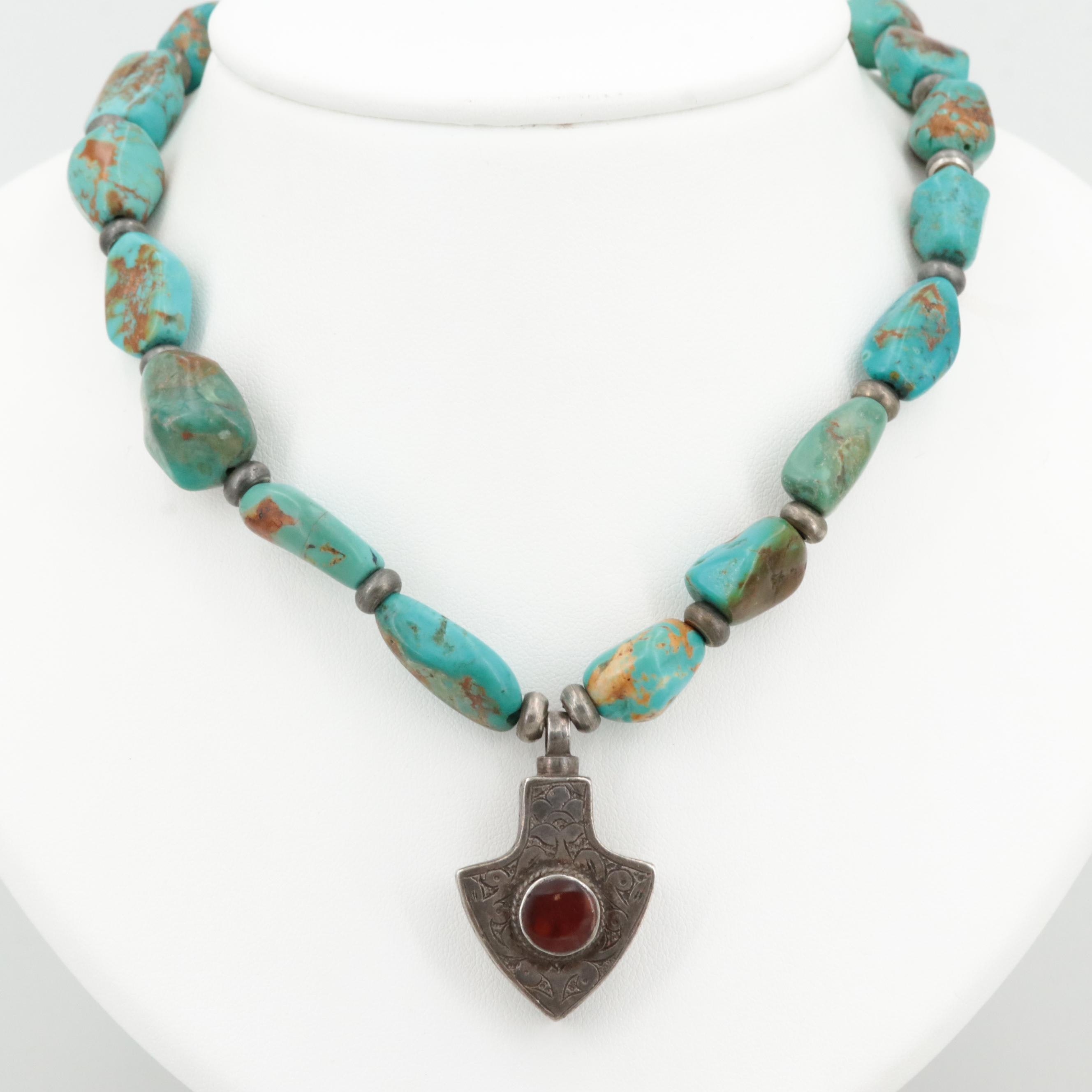 Vintage Turkomen Style Sterling and 800 Silver Turquoise and Carnelian Necklace