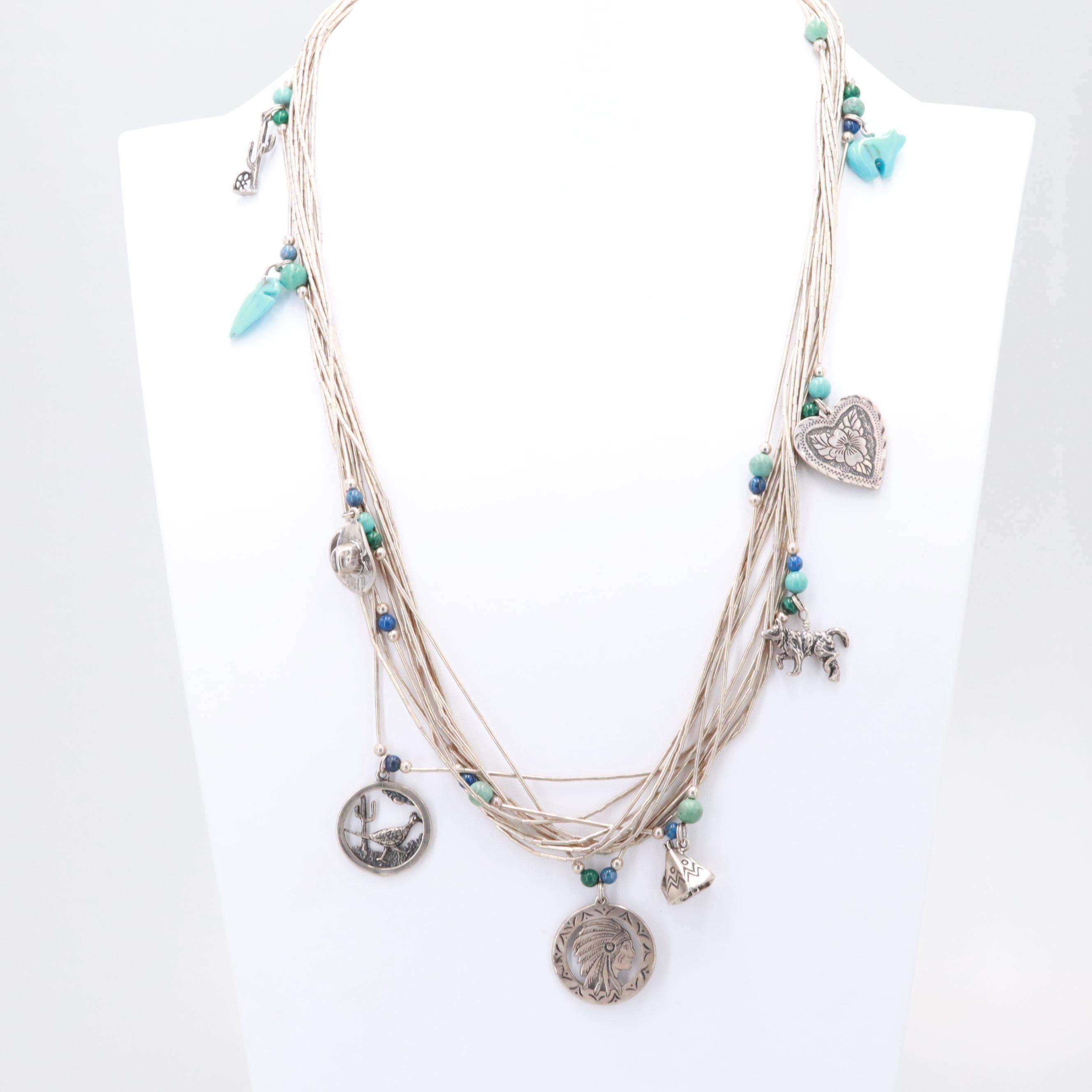 Southwestern Style Sterling Silver Malachite, Lapis Lazuli and Howlite Necklace