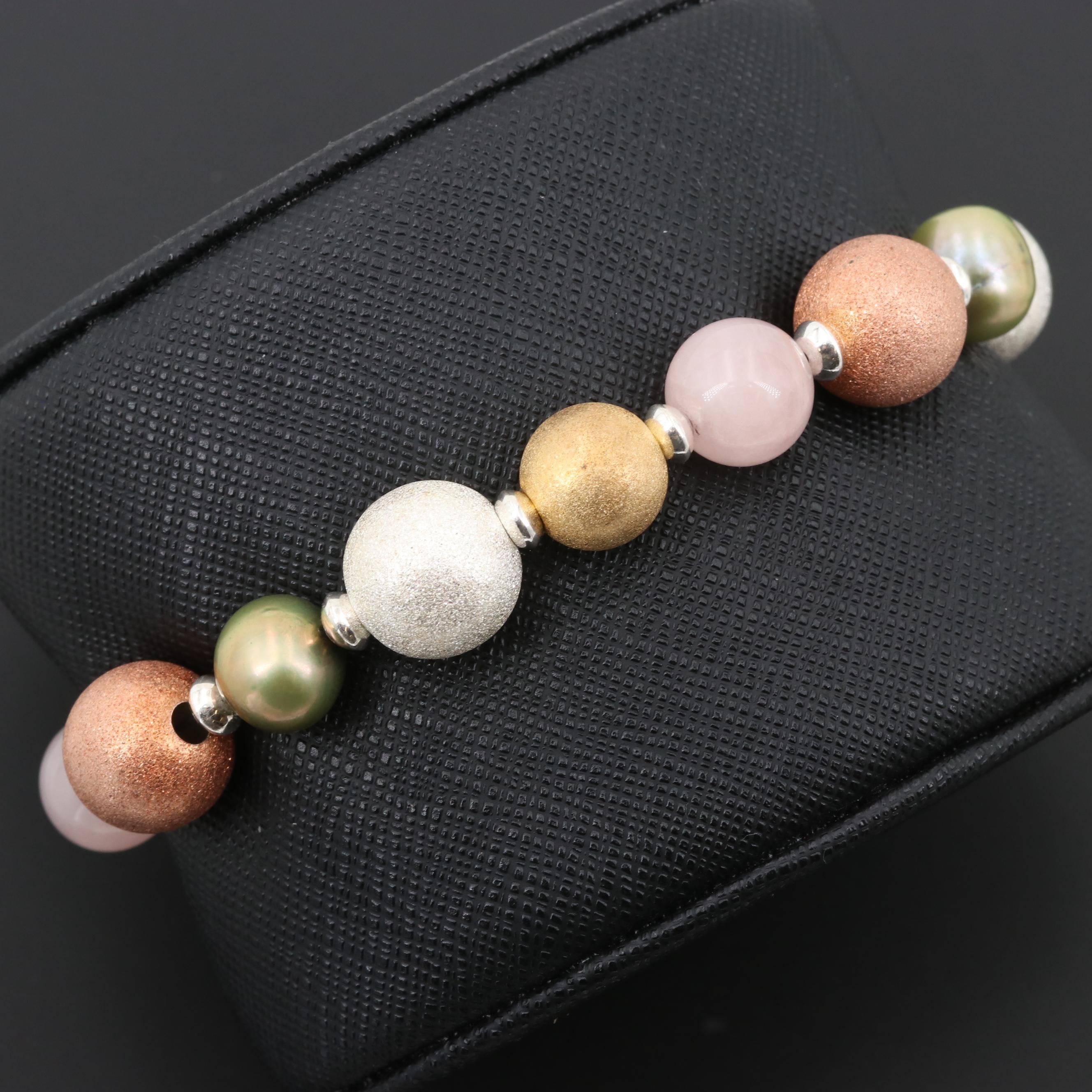 Sterling Silver Rose Quartz and Cultured Pearl Bracelet