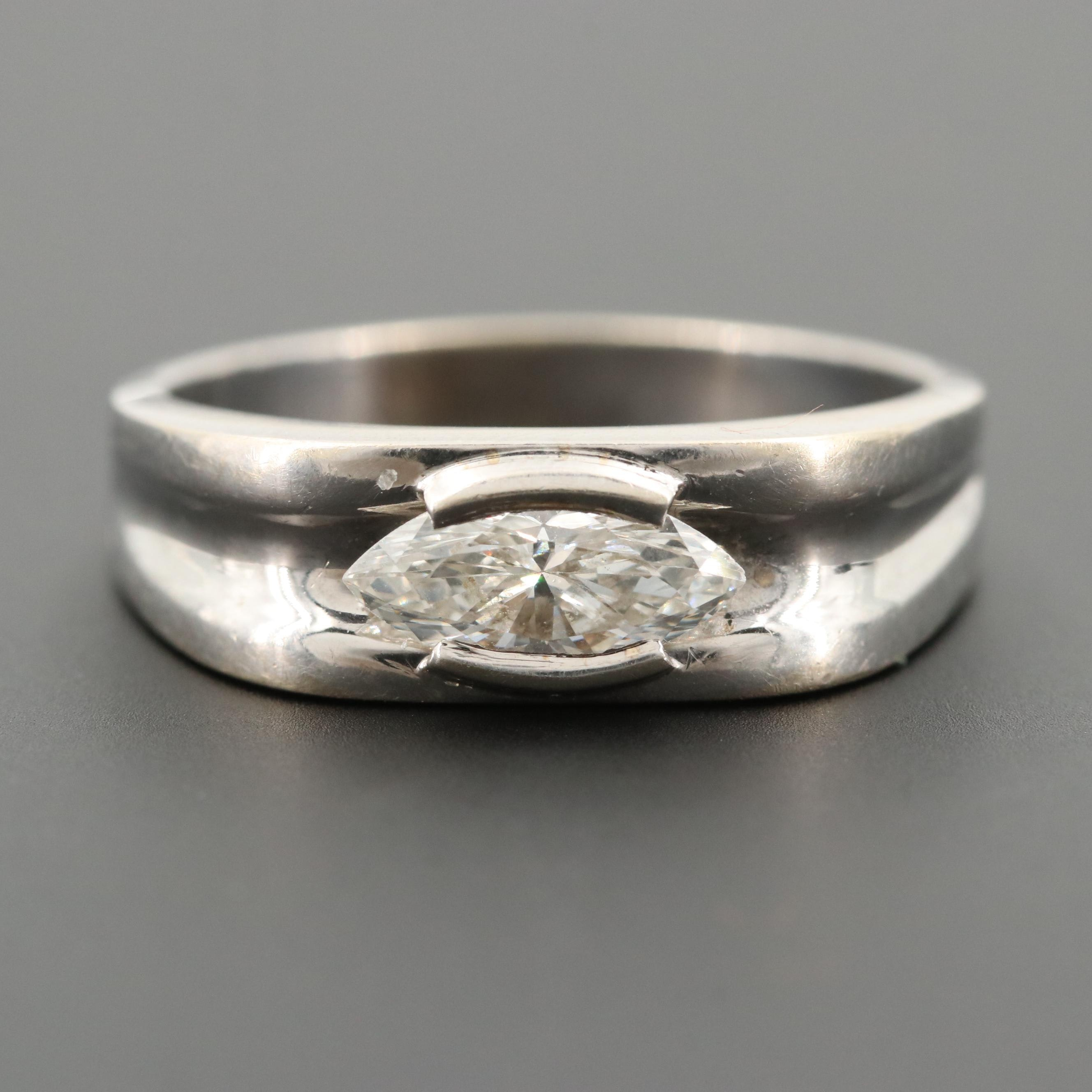 14K White Gold 0.91 CT Diamond Ring