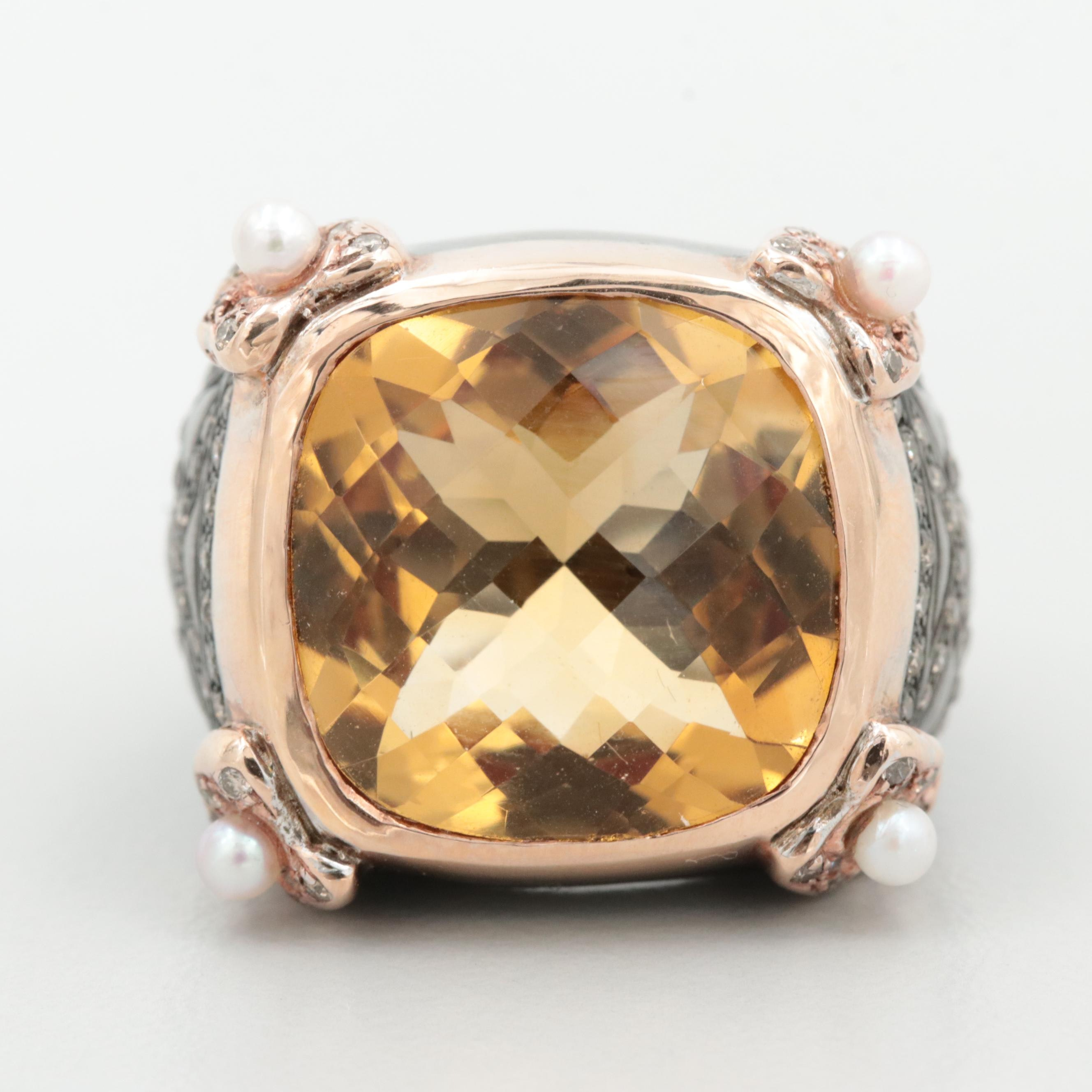 Sterling with 18K Rose Gold Accents Citrine, Cutured Pearl and Diamond Ring