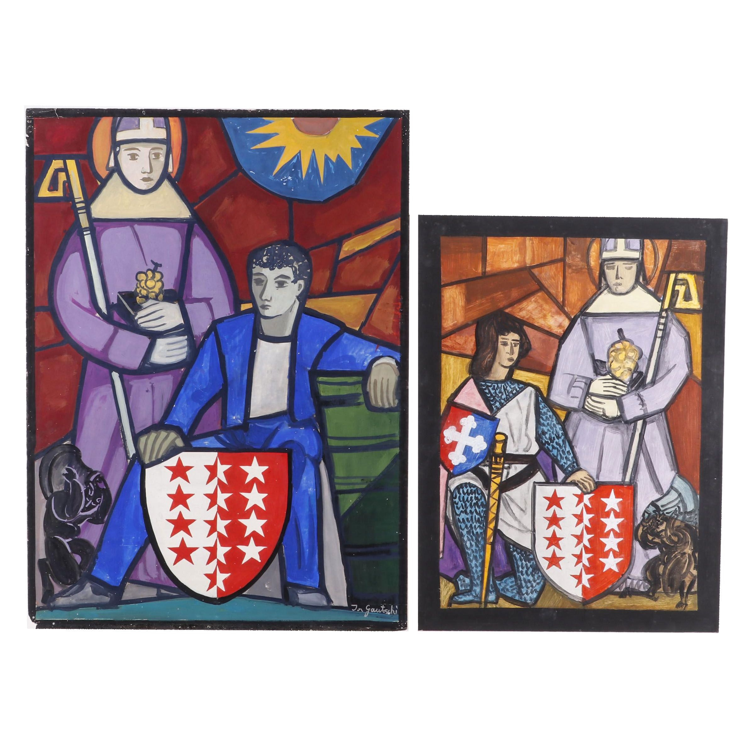 Joseph Gautschi Medieval Style Figural Acrylic Paintings